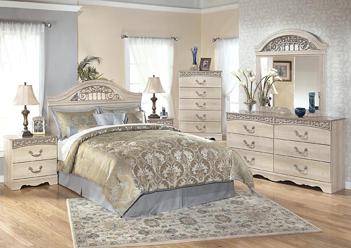 Catalina Queen Panel Headboard w/Dresser, Mirror & Nightstand,Signature Design By Ashley