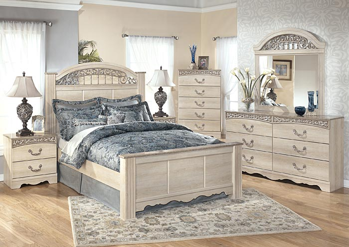 Catalina King Poster Bed w/Dresser, Mirror & Nightstand,Signature Design By Ashley