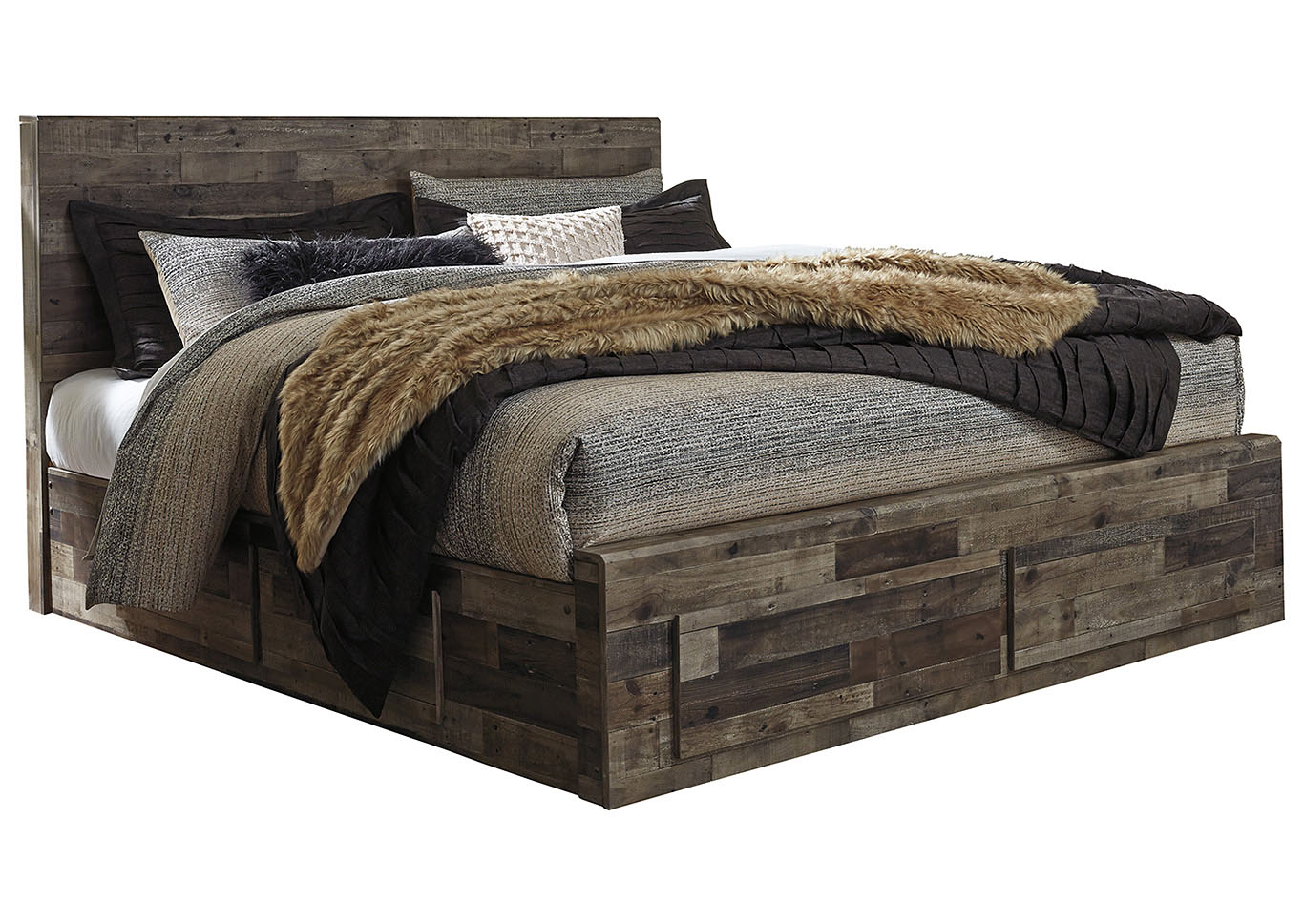Derekson Multi Gray King Storage Bed,Signature Design By Ashley