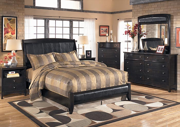 Harmony King Sleigh Bed w/Dresser, Mirror & Drawer Chest,Signature Design By Ashley