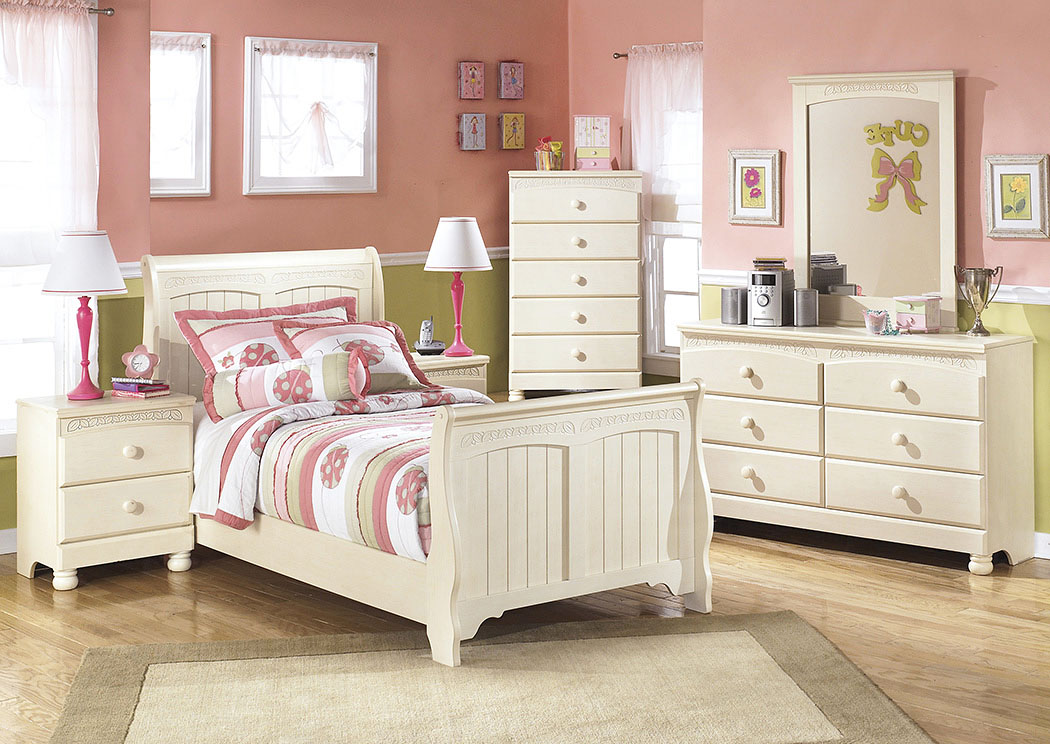 Cottage Retreat Twin Sleigh Bed w/Dresser, Mirror, Drawer Chest & Nightstand,Signature Design By Ashley