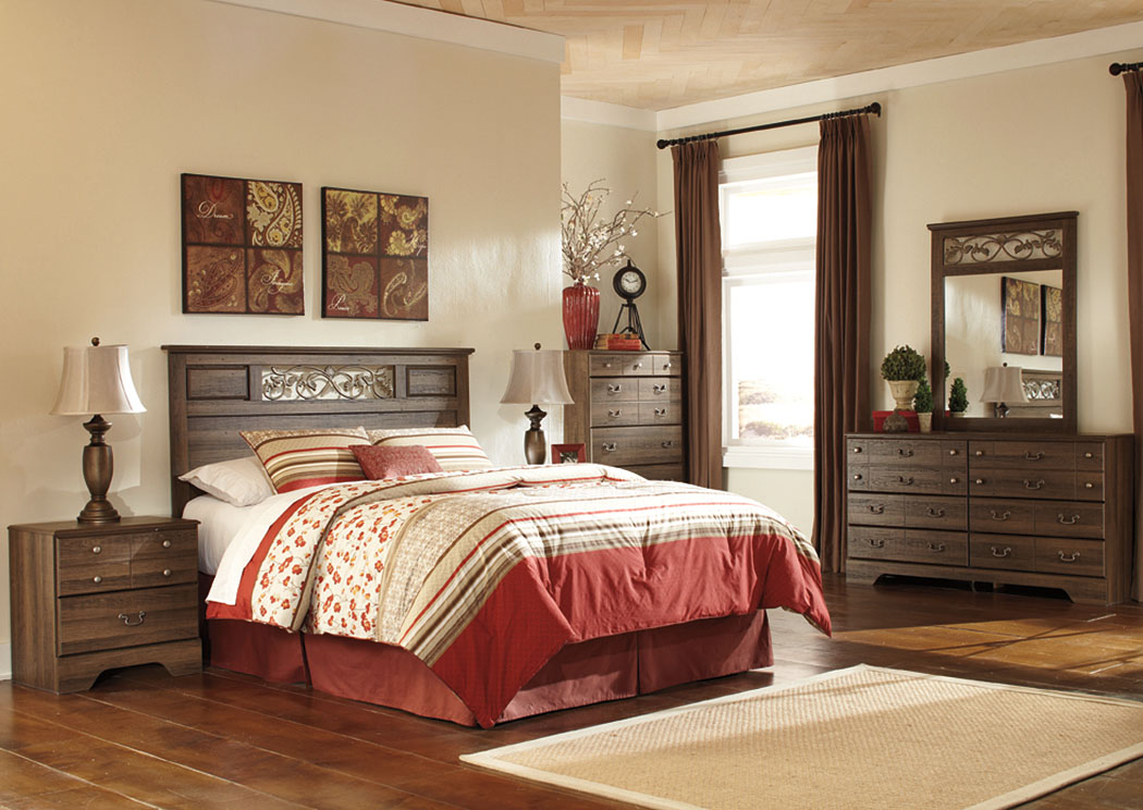 Allymore Queen/Full Panel Headboard w/Dresser, Mirror & Drawer Chest,Signature Design By Ashley