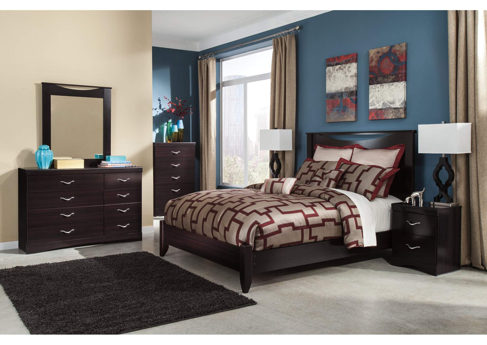 Zanbury King Panel Bed w/Dresser, Mirror & Drawer Chest,Signature Design By Ashley