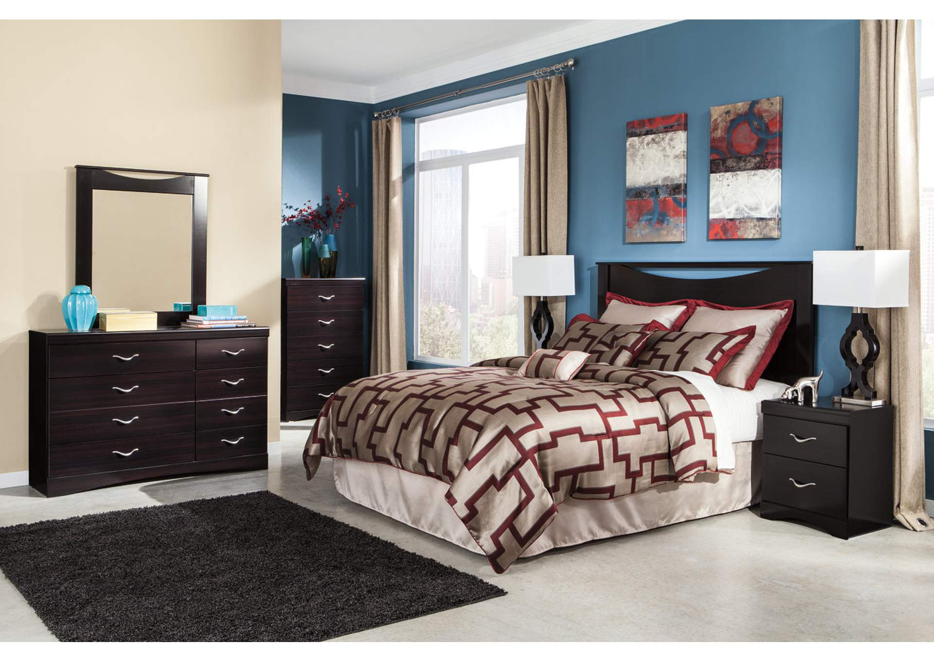 Zanbury Queen/Full Panel Headboard w/Dresser, Mirror & Drawer Chest,Signature Design By Ashley