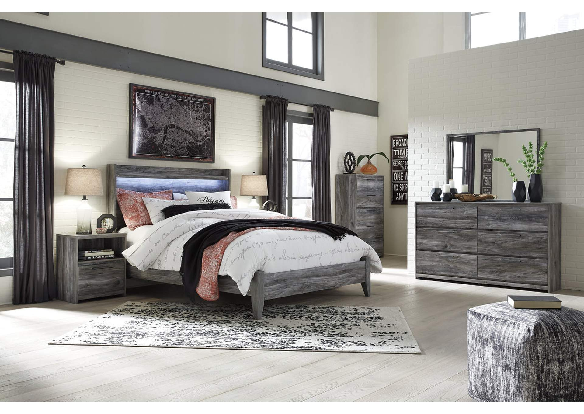 Baystorm Gray Queen Panel Bed w/Dresser, Mirror, Drawer Chest and Nightstand,Signature Design By Ashley