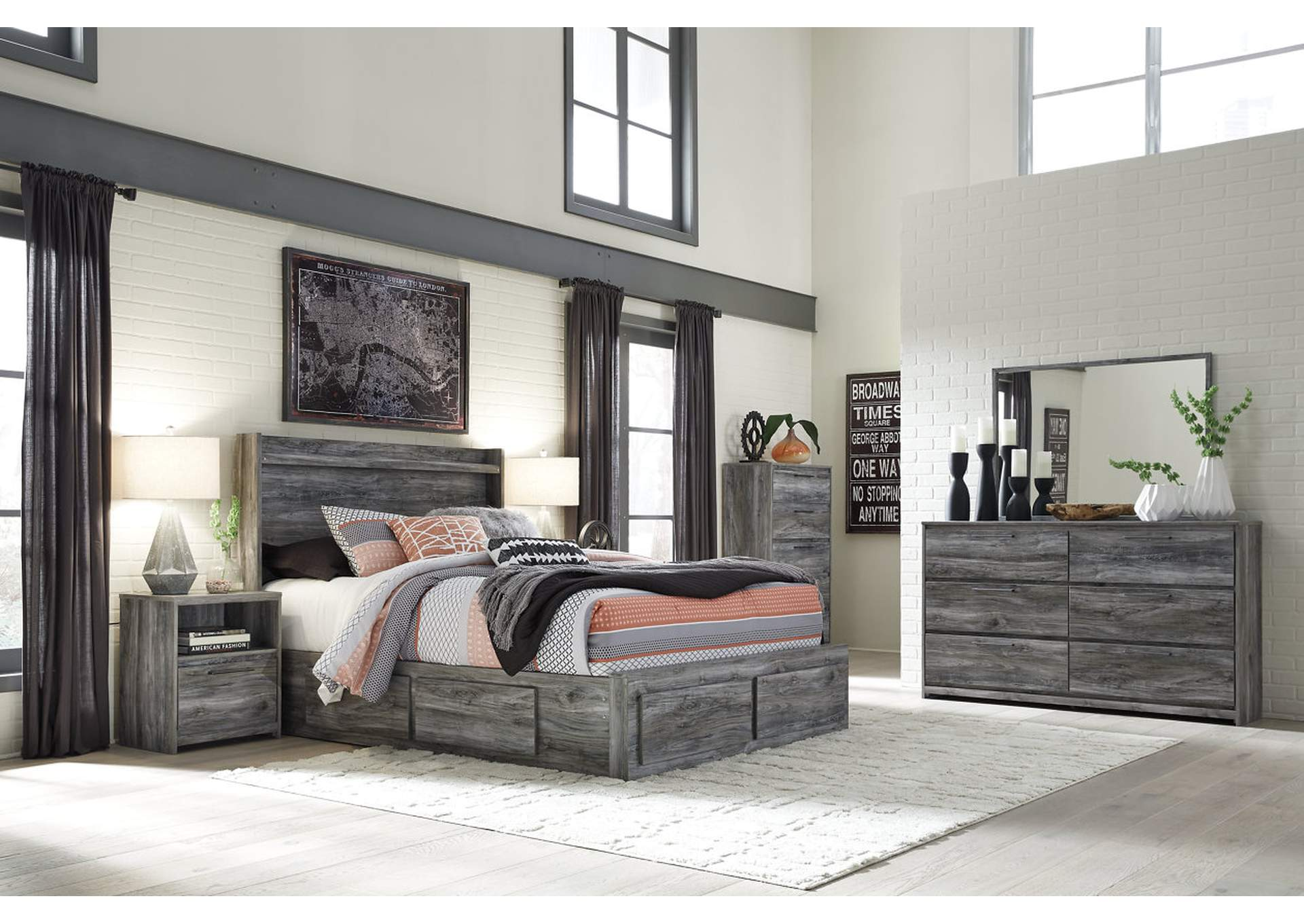 Baystorm Gray King Storage Bed W/Dresser, Mirror, Drawer Chest And  Nightstand,