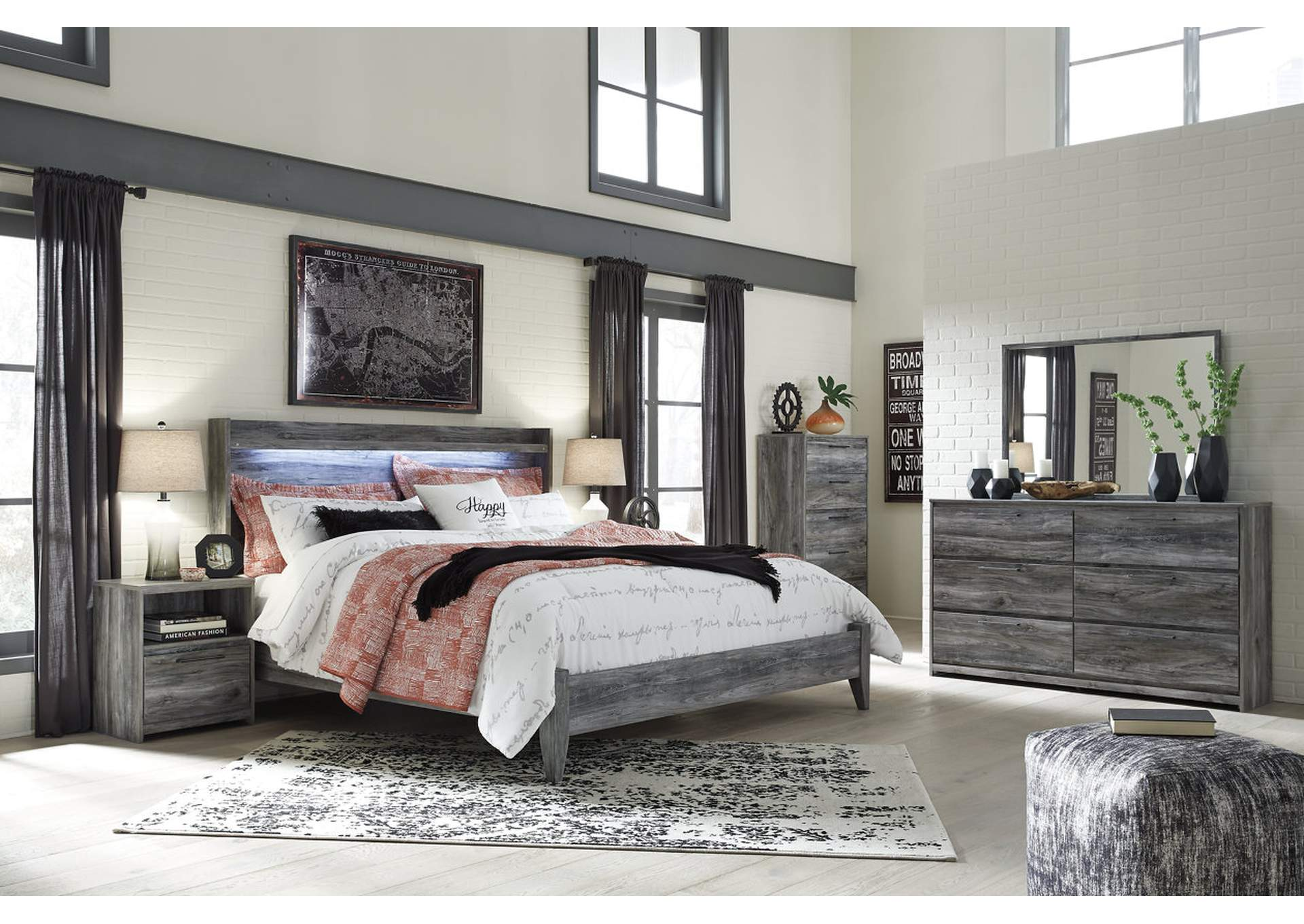 Baystorm Gray King Panel Bed w/Dresser, Mirror, Drawer Chest and Nightstand,Signature Design By Ashley