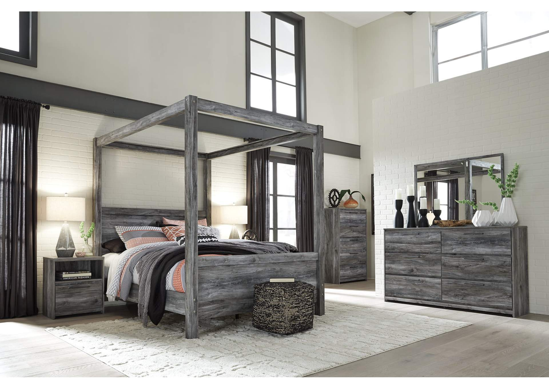 Baystorm Gray King Canopy Bed w/Dresser, Mirror, Drawer Chest and Nightstand,Signature Design By Ashley