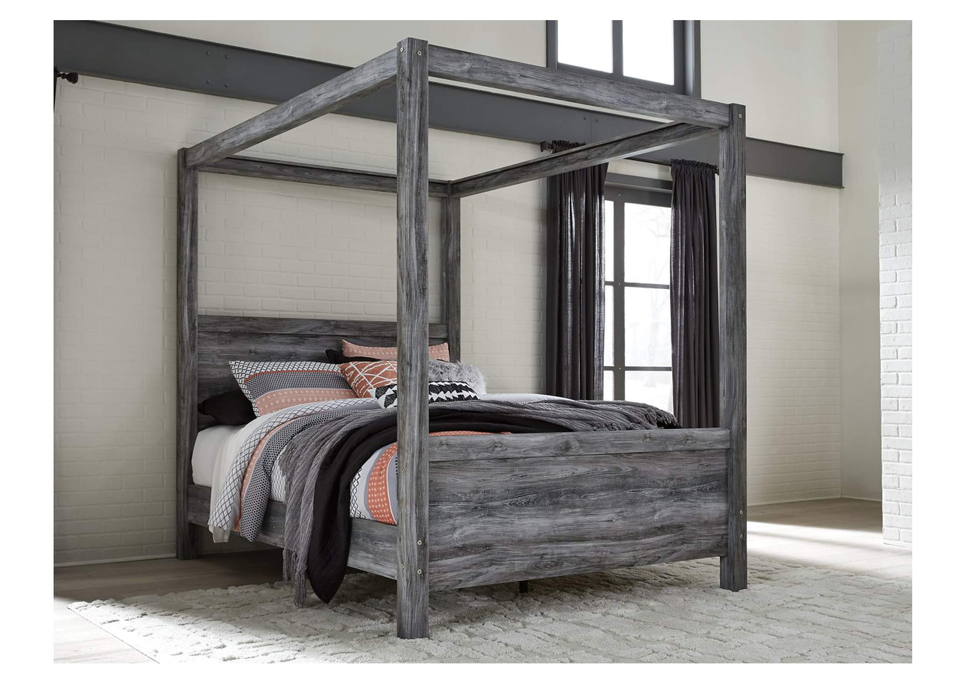 Baystorm Gray Queen Canopy Bed,Signature Design By Ashley