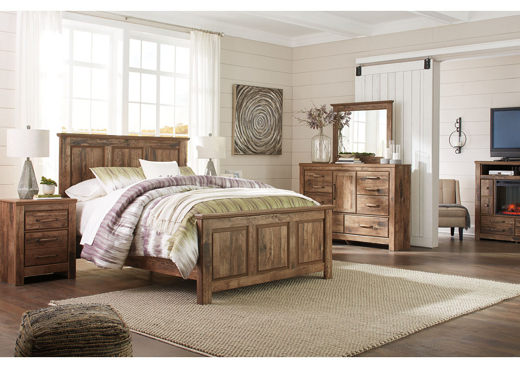 Blaneville Brown Queen Panel Bed w/Dresser, Mirror, Drawer Chest and Nightstand,Signature Design By Ashley