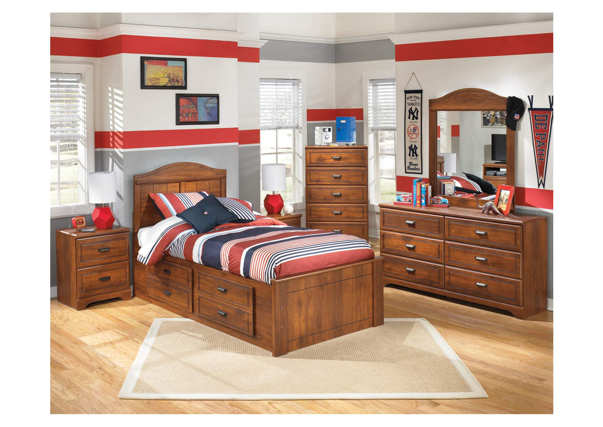Barchan Twin Panel Storage Bed w/Dresser, Mirror, Drawer Chest & Nightstand,Signature Design by Ashley