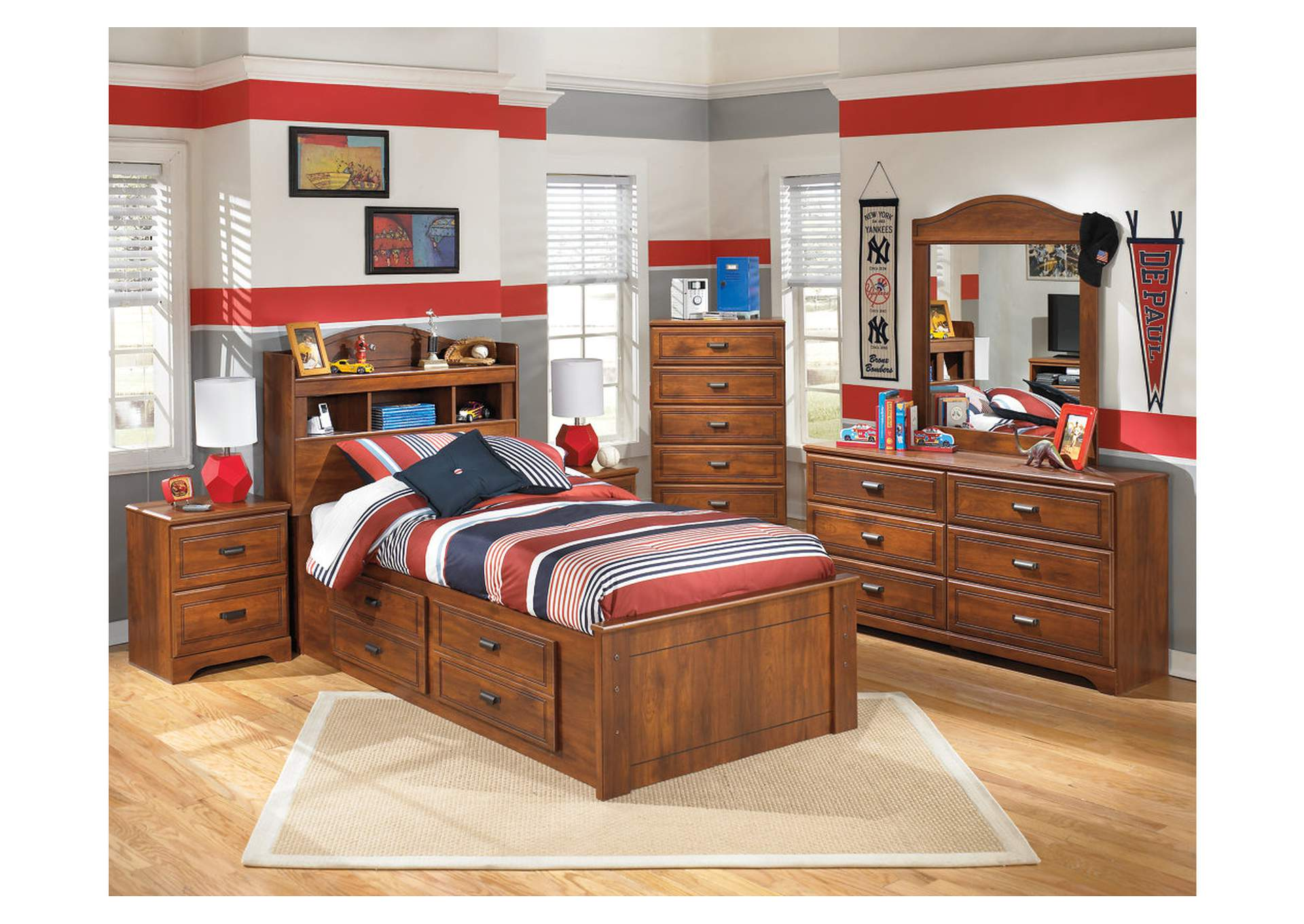 Barchan Twin Bookcase Storage Bed w/Dresser, Mirror, Drawer Chest & Nightstand,Signature Design by Ashley