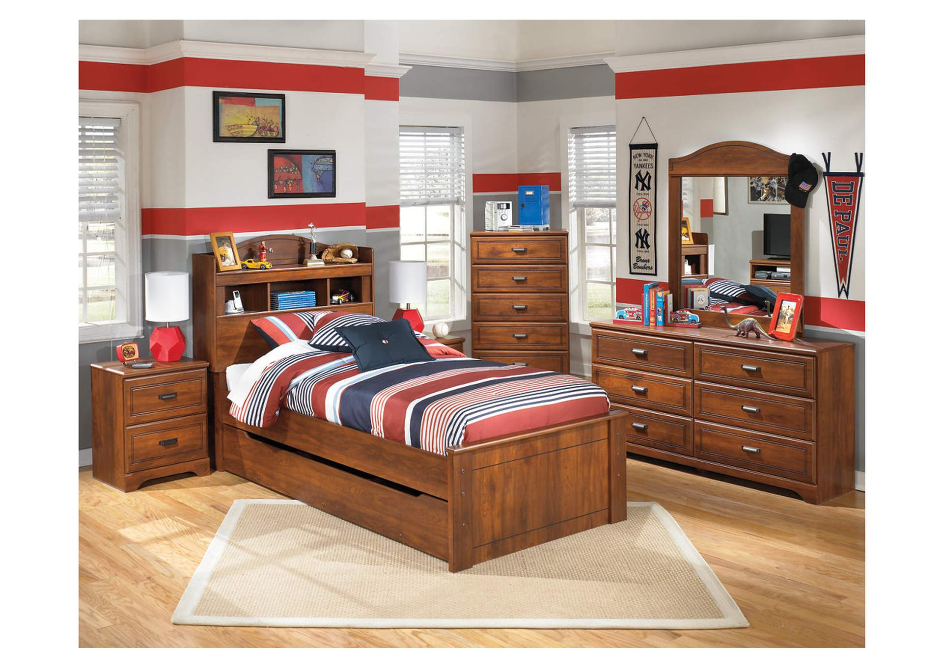 Barchan Twin Bookcase Bed w/Trundle, Dresser, Mirror & Drawer Chest,Signature Design By Ashley