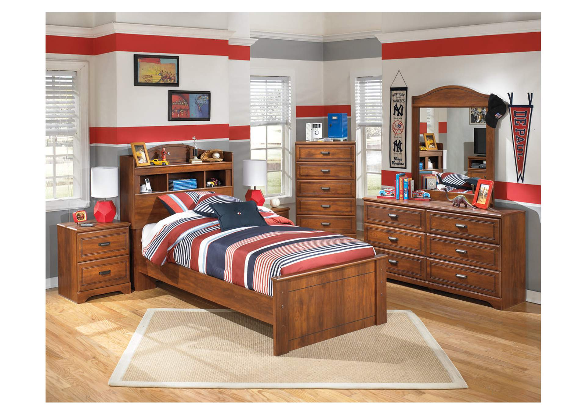 Barchan Twin Bookcase Bed w/Dresser, Mirror, Drawer Chest & Nightstand,Signature Design by Ashley