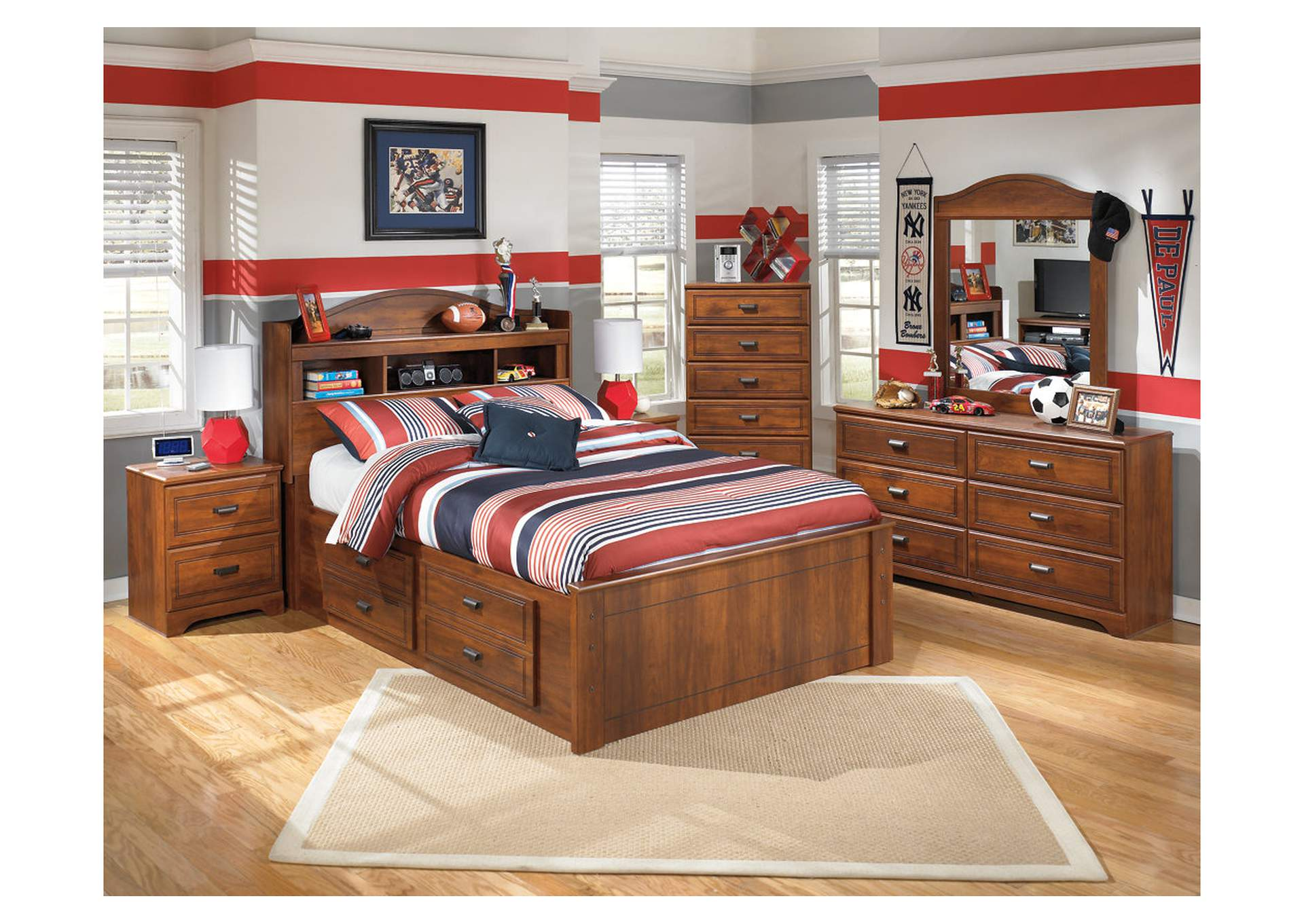 Barchan Full Bookcase Storage Bed w/Dresser, Mirror & Drawer Chest,Signature Design By Ashley