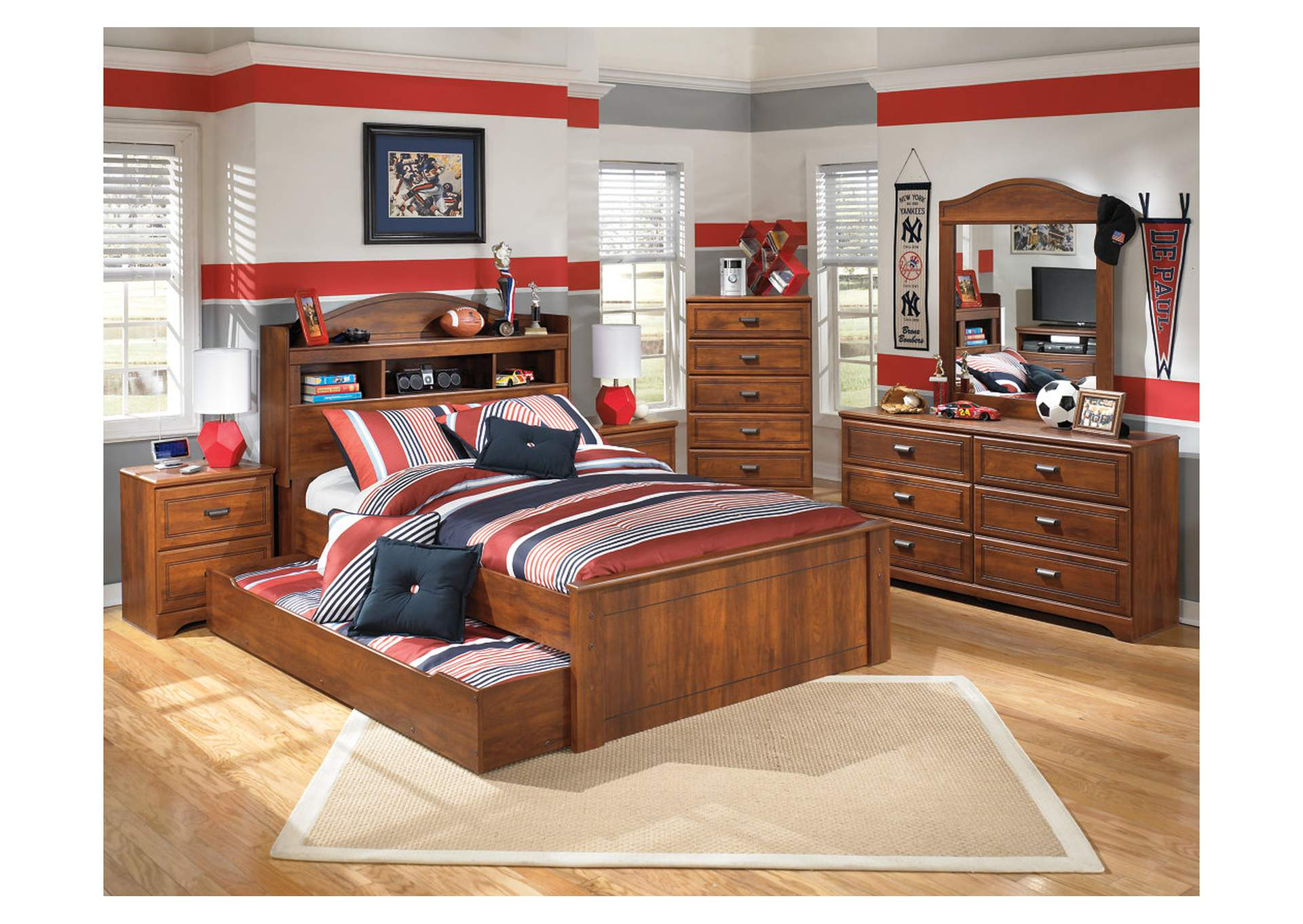 Barchan Full Bookcase Bed w/Trundle, Dresser, Mirror, Drawer Chest & Nightstand,Signature Design By Ashley