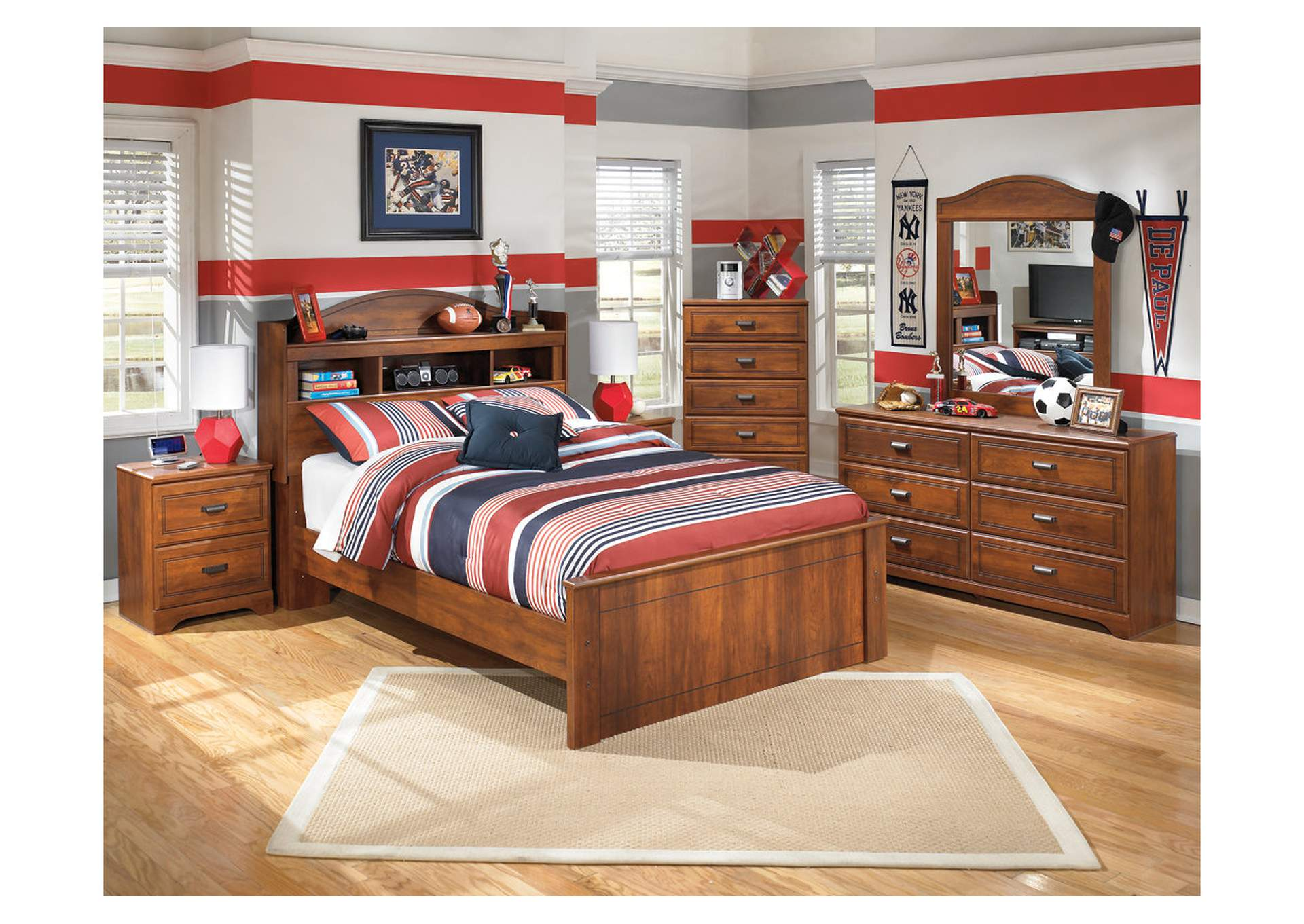 Barchan Full Bookcase Bed w/Dresser, Mirror, Drawer Chest & Nightstand,Signature Design By Ashley