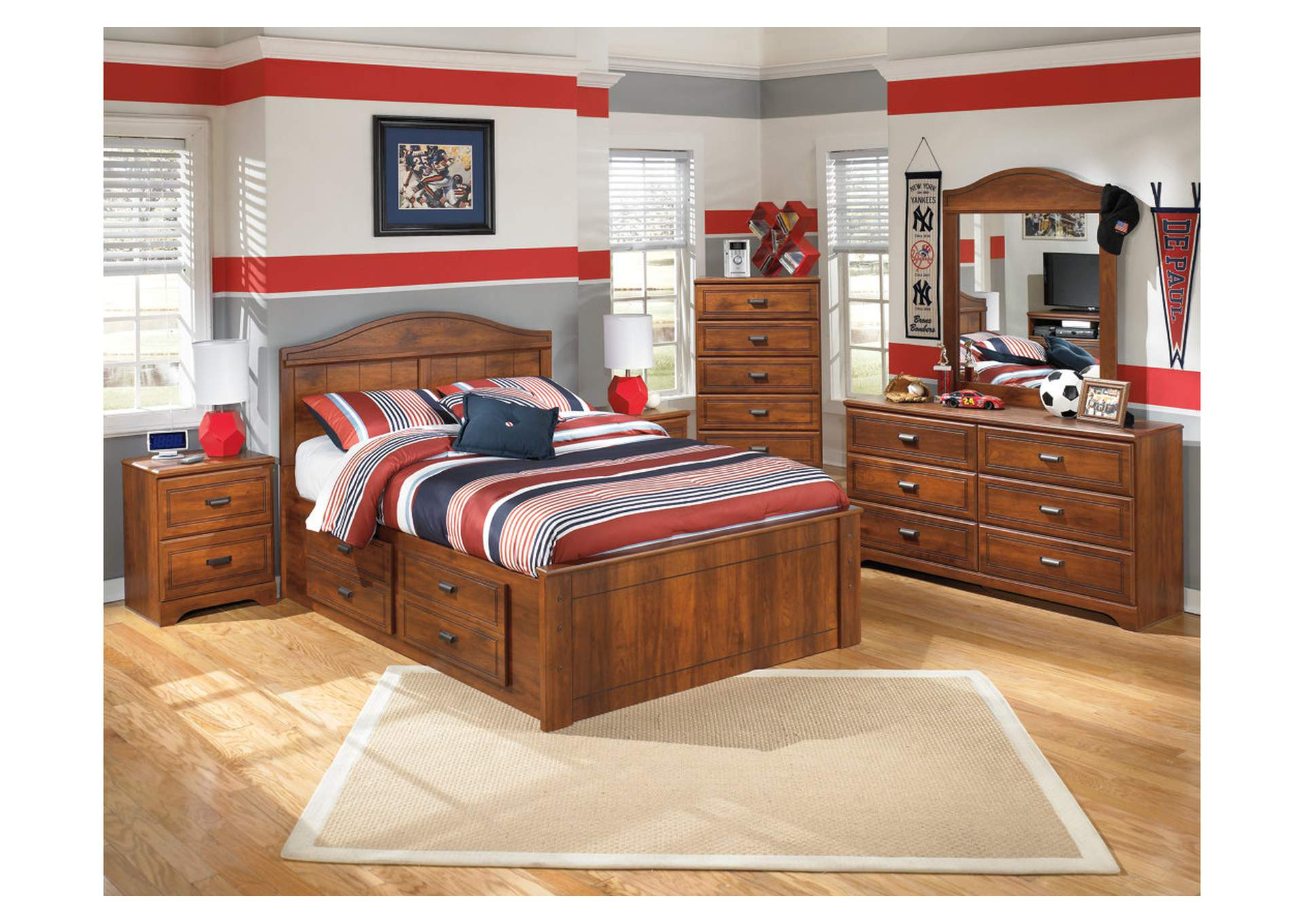 Barchan Full Panel Storage Bed w/Dresser, Mirror, Drawer Chest & Nightstand,Signature Design By Ashley
