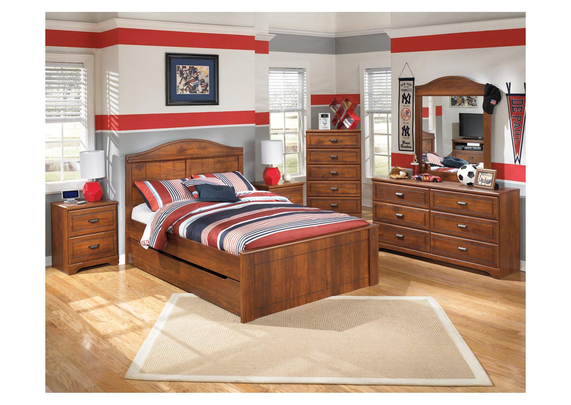 Barchan Full Panel Bed w/Trundle, Dresser & Mirror,Signature Design By Ashley