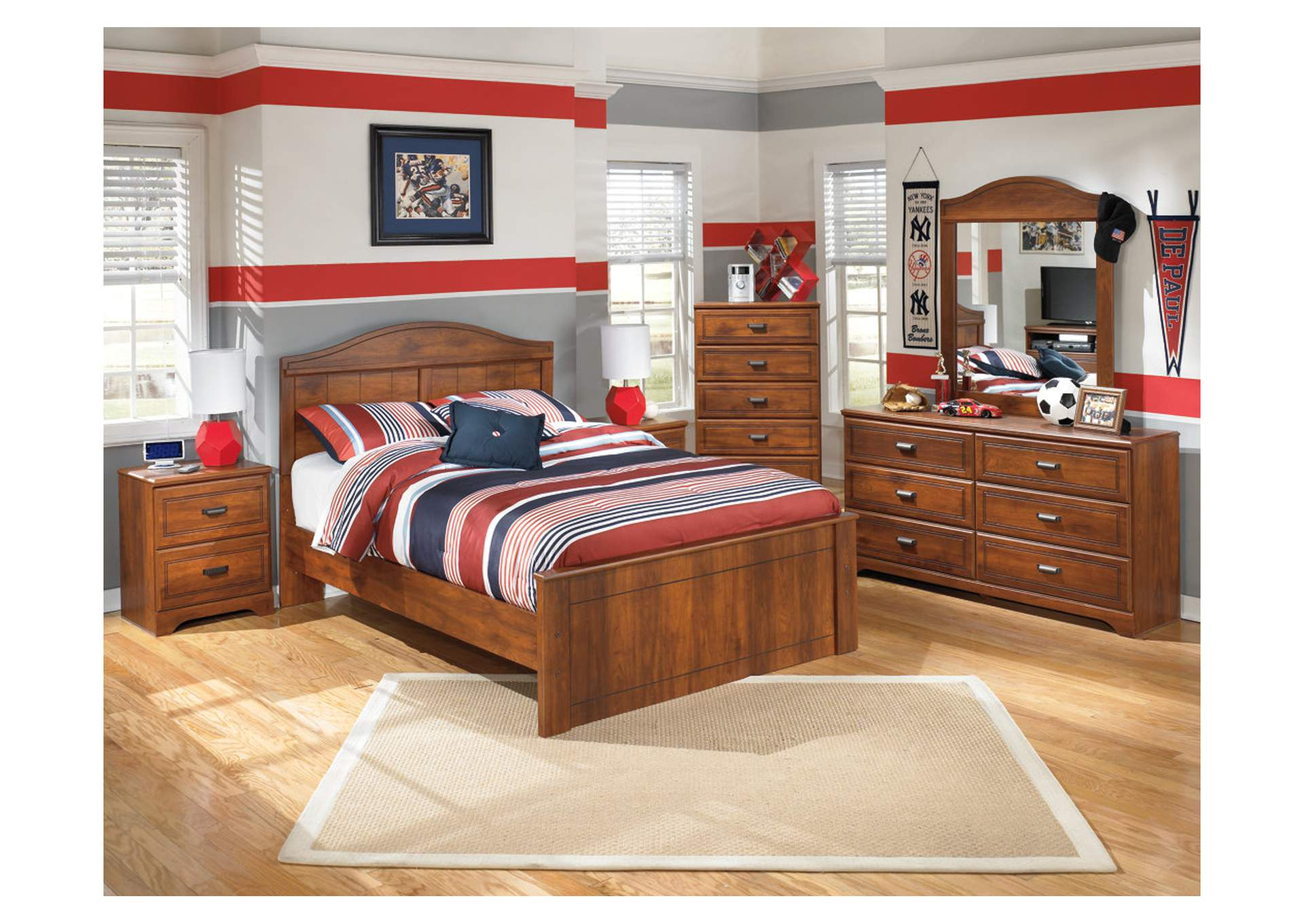 Barchan Full Panel Bed w/Dresser, Mirror, Drawer Chest & 2 Nightstands,Signature Design By Ashley