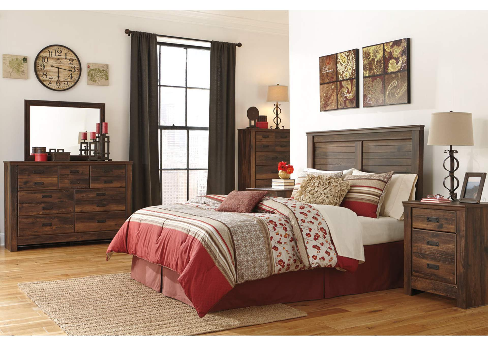 Quinden King Panel Headboard w/Dresser, Mirror, Drawer Chest & Nightstand,Signature Design By Ashley