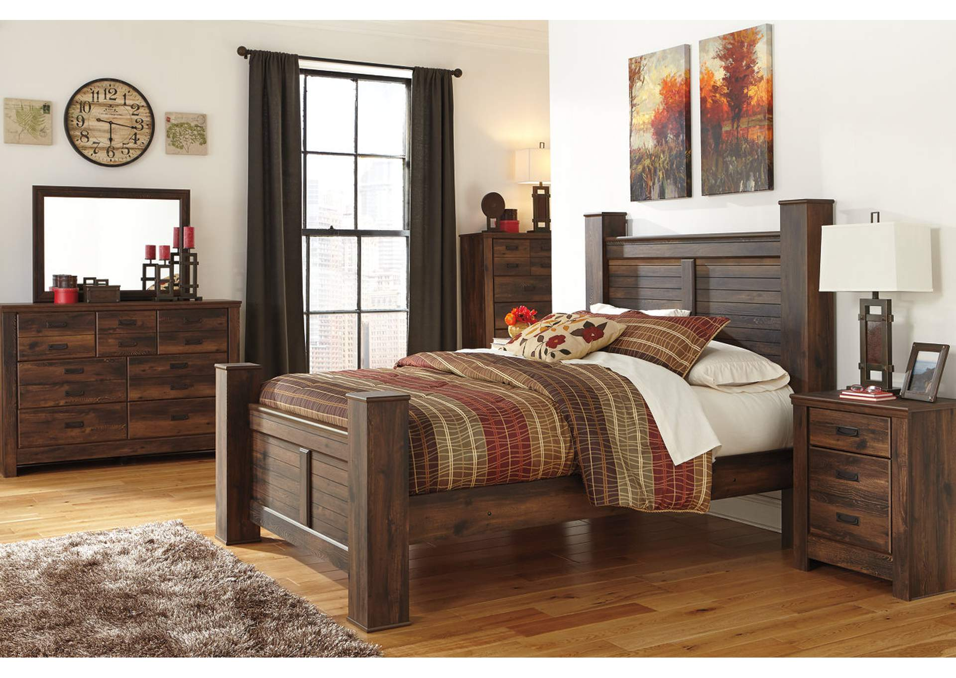Quinden Queen Poster Bed w/Dresser, Mirror, Drawer Chest & Nightstand,Signature Design By Ashley