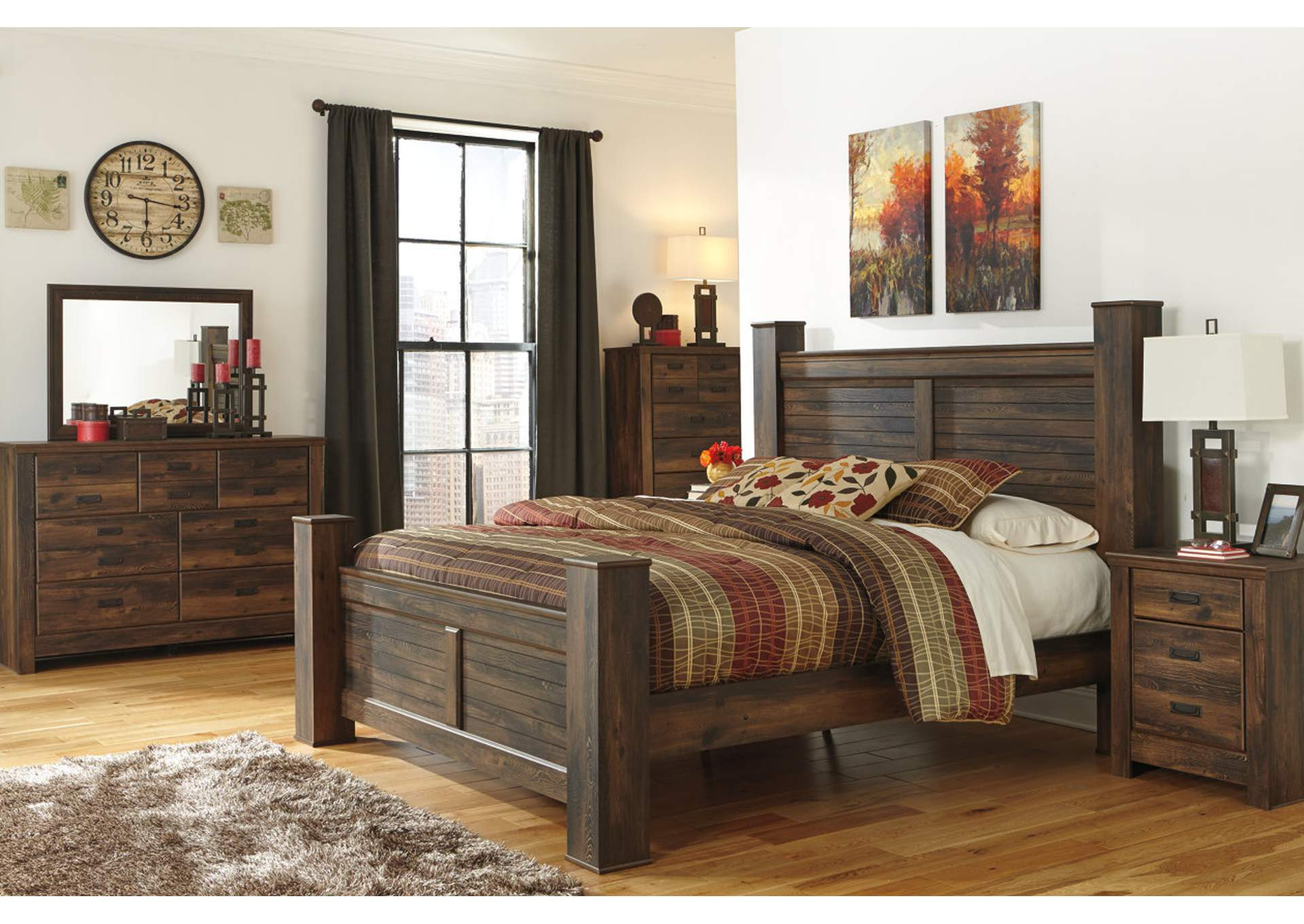 Quinden King Poster Bed w/Dresser, Mirror, Drawer Chest & Nightstand,Signature Design By Ashley