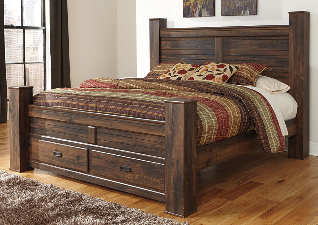 Quinden Dark Brown King Storage Poster Bed,Signature Design By Ashley