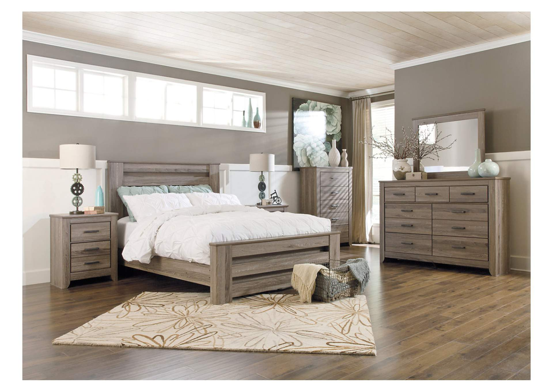 Zelen Queen Poster Bed w/Dresser, Mirror, Drawer Chest & Nightstand,Signature Design By Ashley