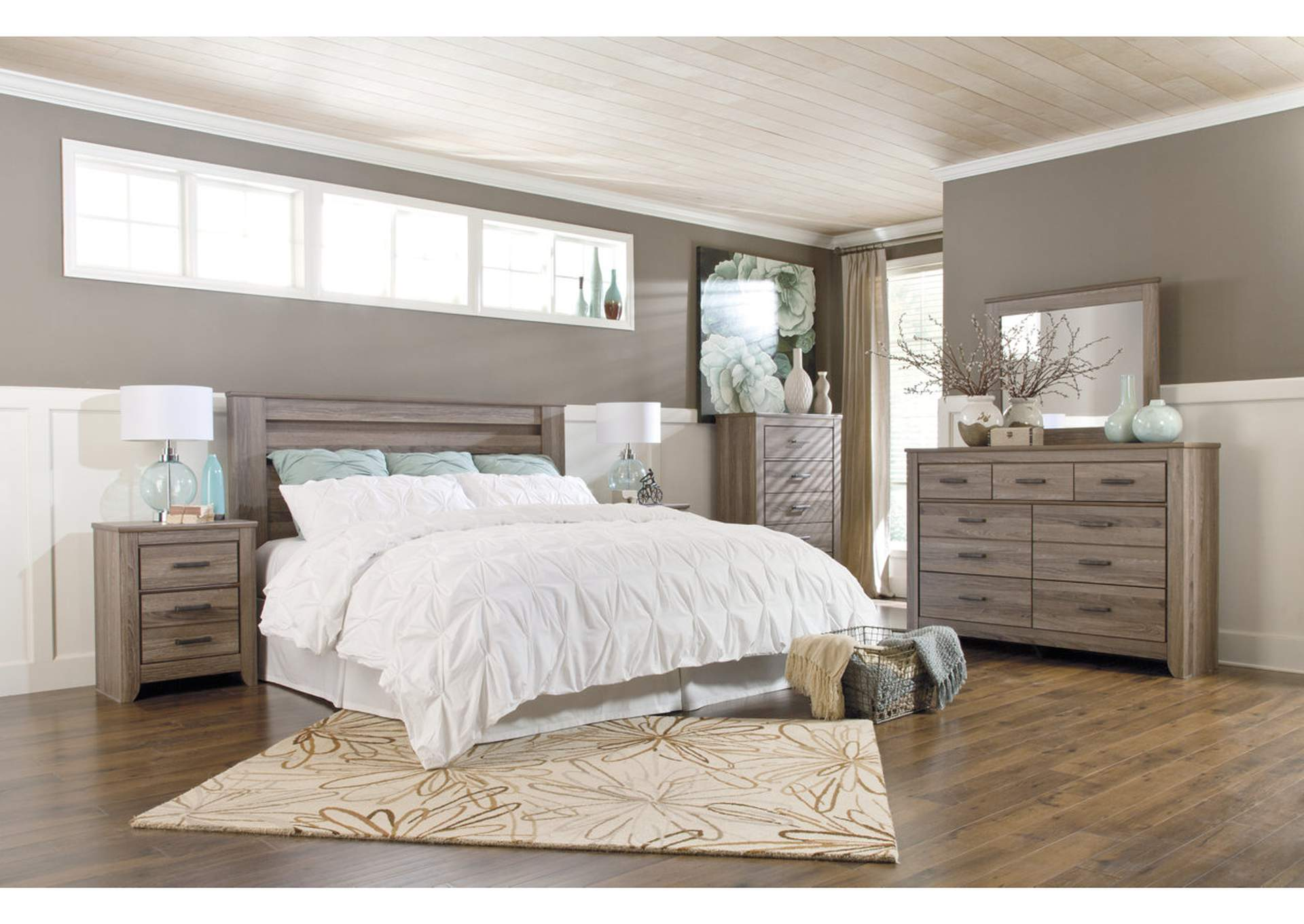 Zelen King/California King Poster Headboard w/Dresser, Mirror, Drawer Chest & Nightstand,Signature Design By Ashley