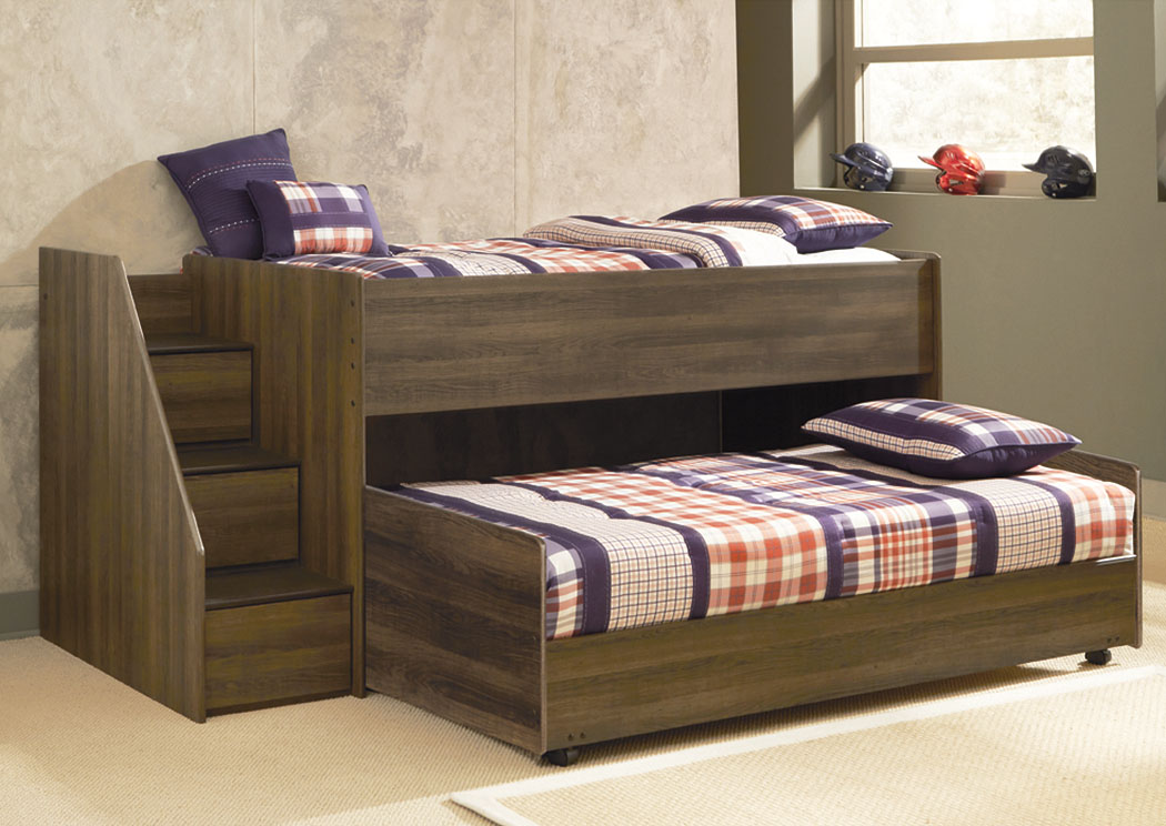Juararo Twin Loft & Caster Bed Set w/ Left Storage Steps,ABF Signature Design by Ashley