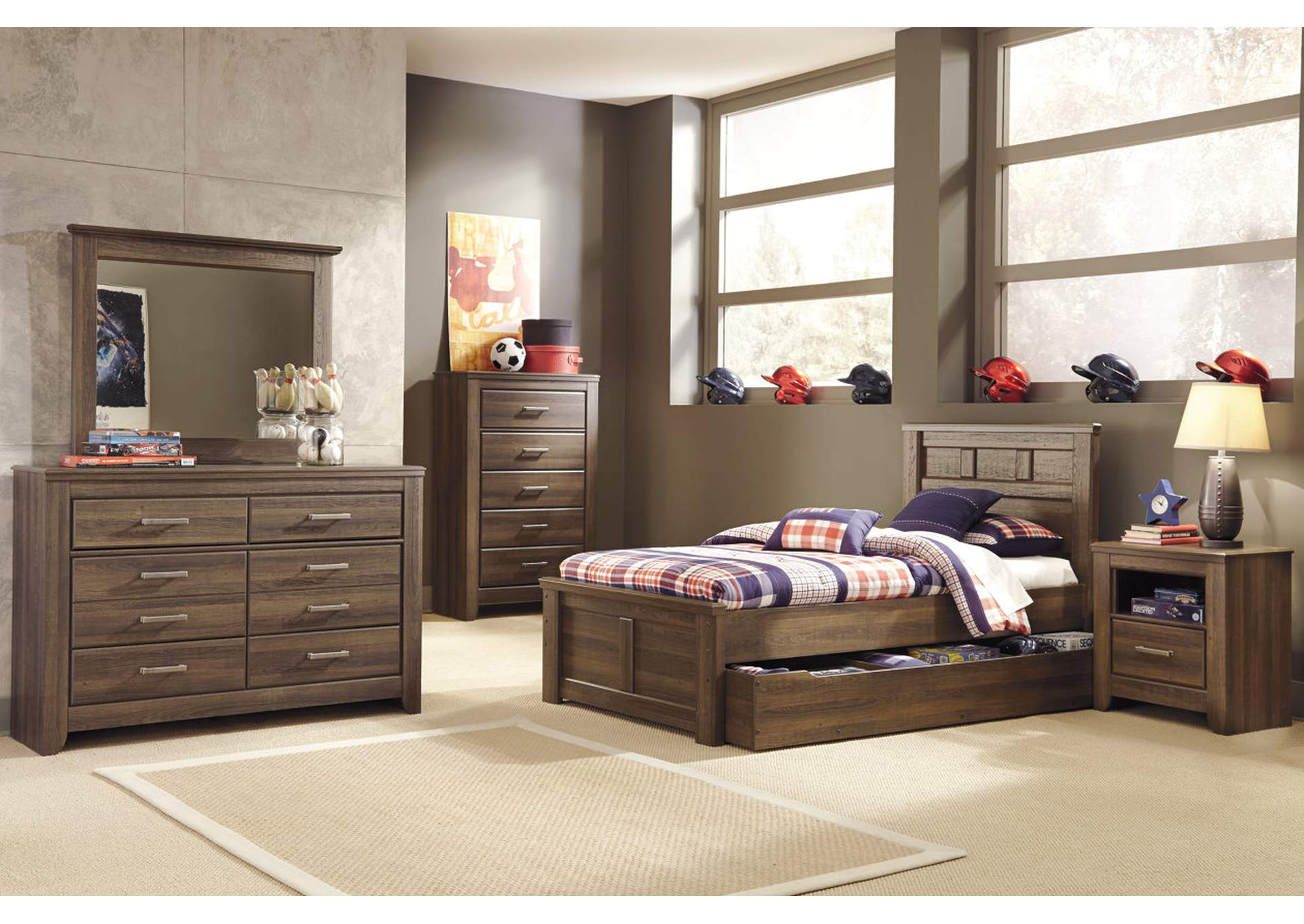 Juararo Twin Panel Storage Bed w/Dresser, Mirror, Chest & One Drawer Nightstand,Signature Design By Ashley