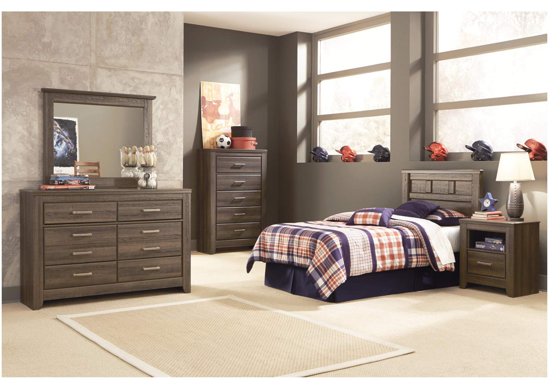 Juararo Twin Panel Headboard, Youth Dresser, Mirror, Chest & One Drawer Nightstand,Signature Design By Ashley