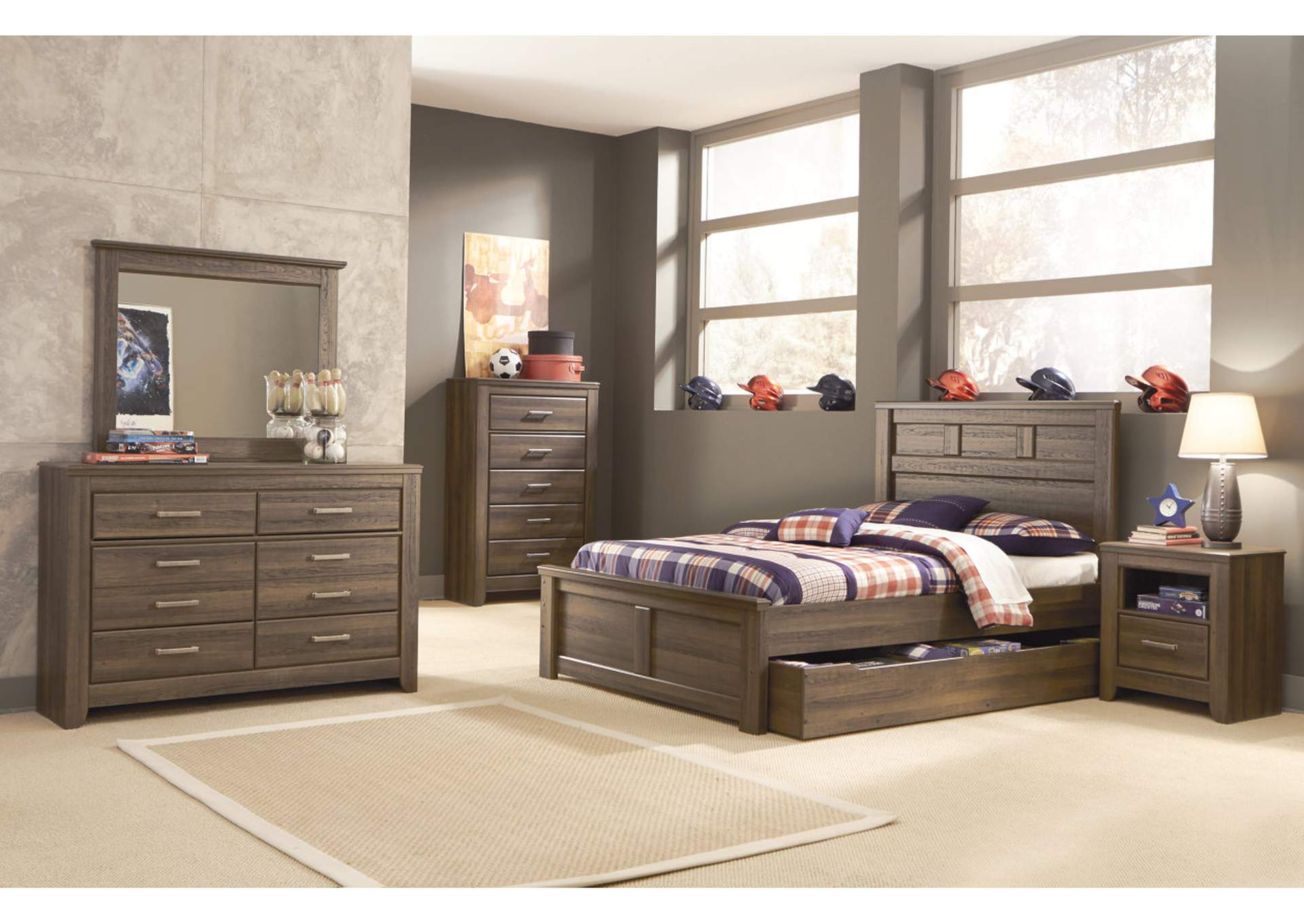 Juararo Full Panel Storage Bed w/Dresser, Mirror, Chest & One Drawer Nightstand,Signature Design By Ashley