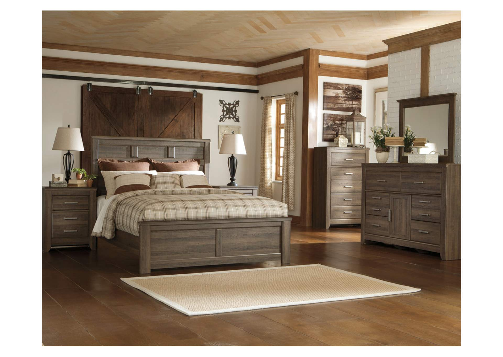 Juararo California King Panel Bed w/Dresser, Mirror, Drawer Chest & Nightstand,Signature Design By Ashley