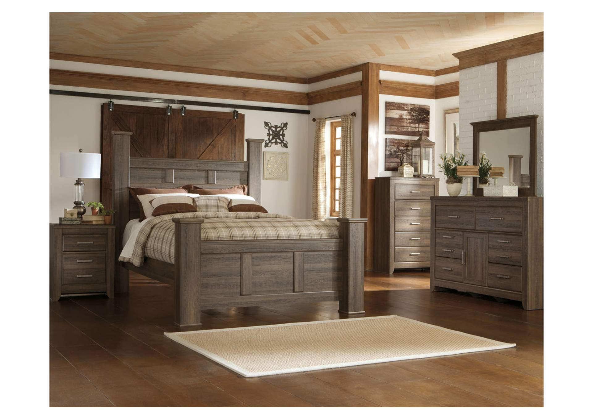 Juararo King Poster Bed w/Dresser, Mirror, Drawer Chest & Nightstand,Signature Design By Ashley