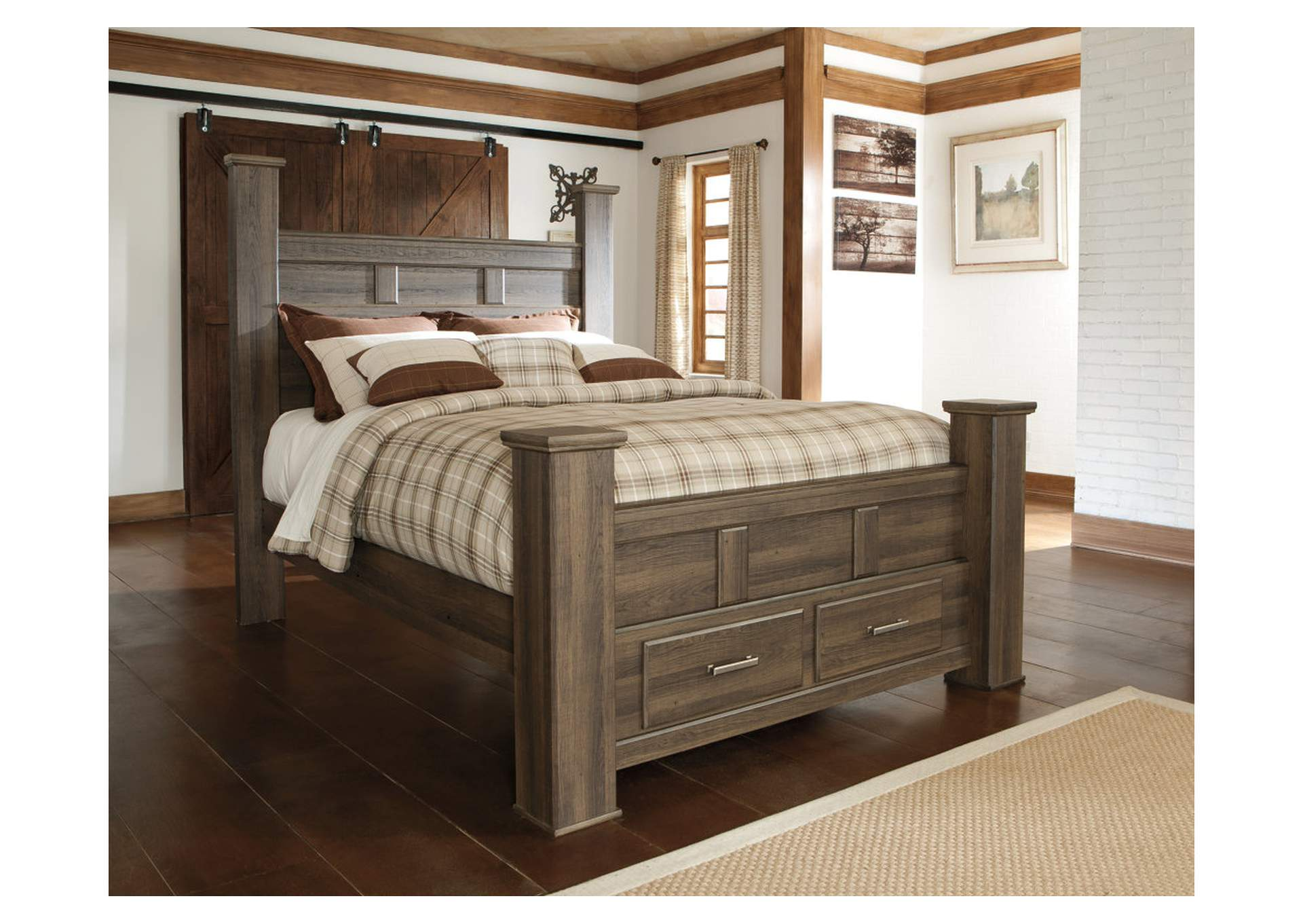Furniture mania juararo california king poster storage bed - California king storage bedroom sets ...