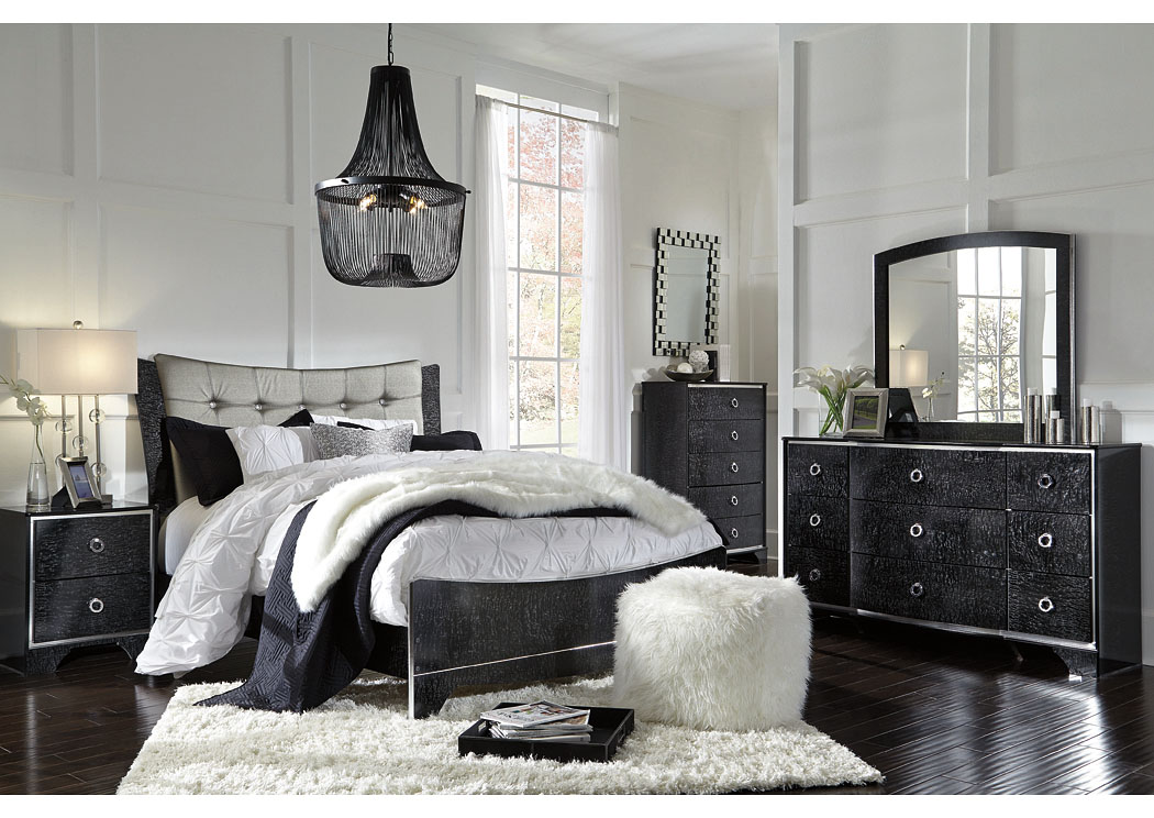 Amrothi Black Queen Upholstered Panel Bed w/Dresser, Mirror & Nightstand,Signature Design By Ashley