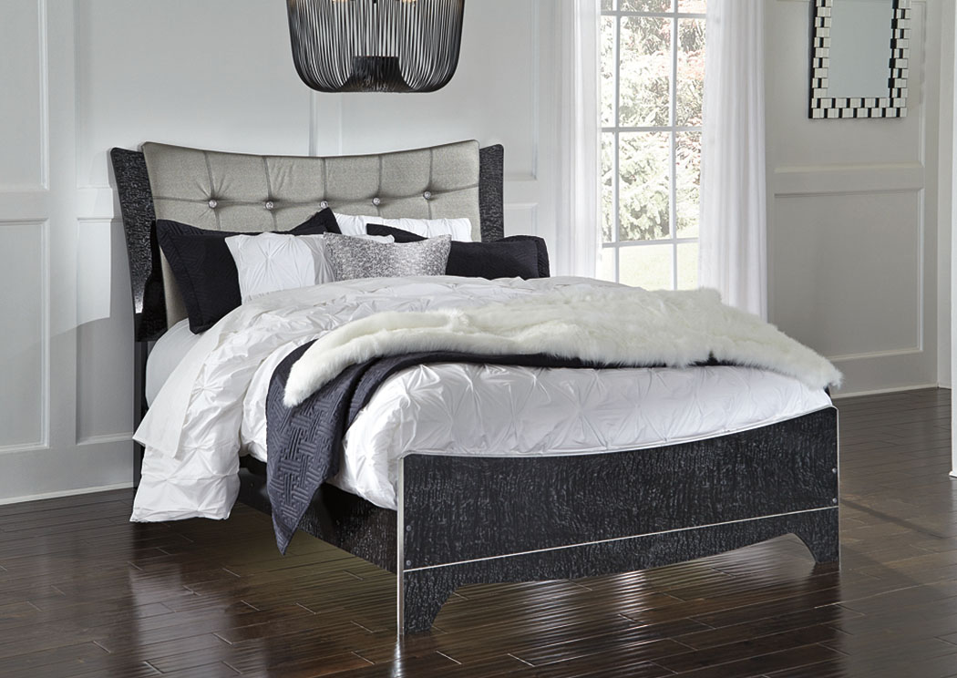 Ivan Smith Amrothi Black Queen Upholstered Panel Bed