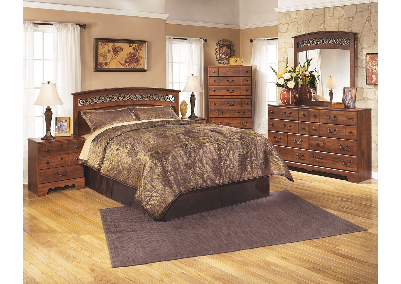 Timberline Queen/Full Panel Headboard w/Dresser, Mirror & Drawer Chest,Signature Design By Ashley