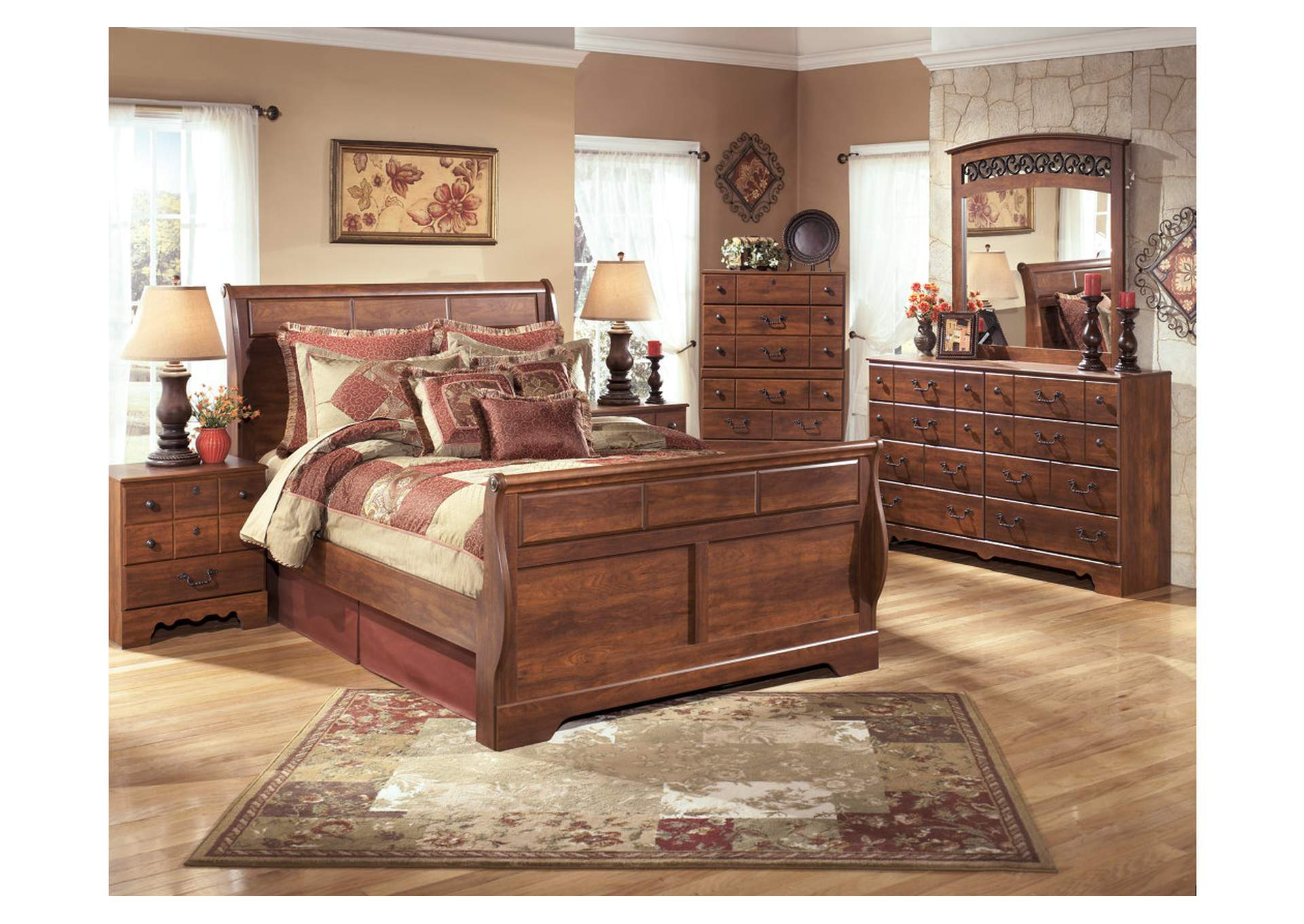 Timberline Queen Sleigh Bed w/Dresser, Mirror, Drawer Chest & Nightstand,Signature Design By Ashley