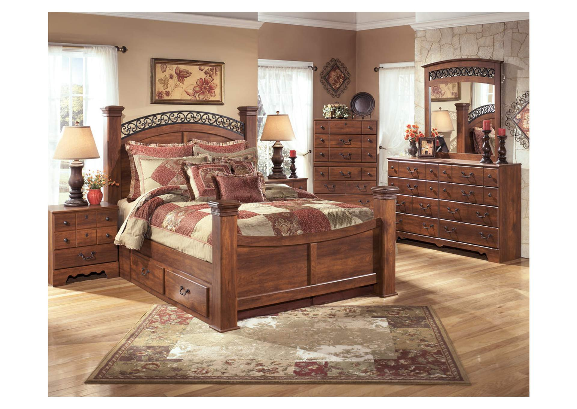 Timberline King Poster Storage Bed w/Dresser, Mirror, Drawer Chest & Nightstand,Signature Design By Ashley
