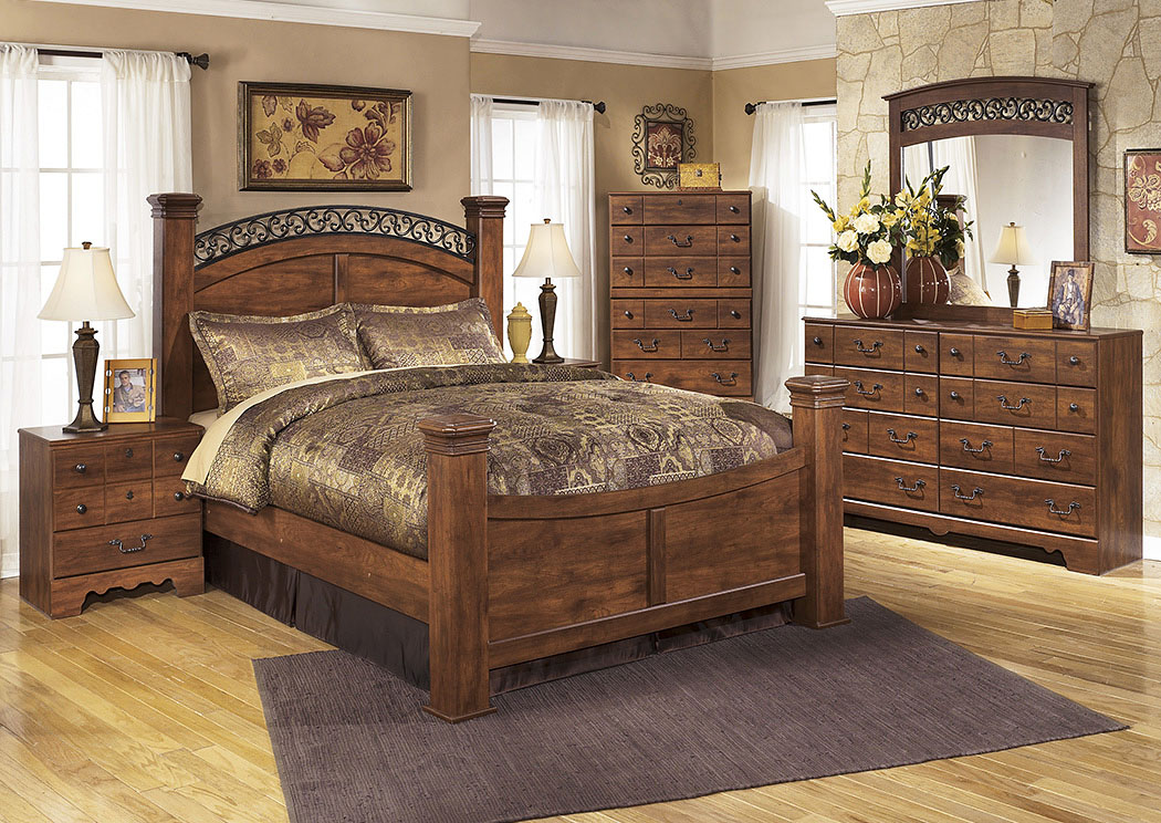 Timberline Queen Poster Bed w/Dresser, Mirror, Drawer Chest & Nightstand,Signature Design By Ashley