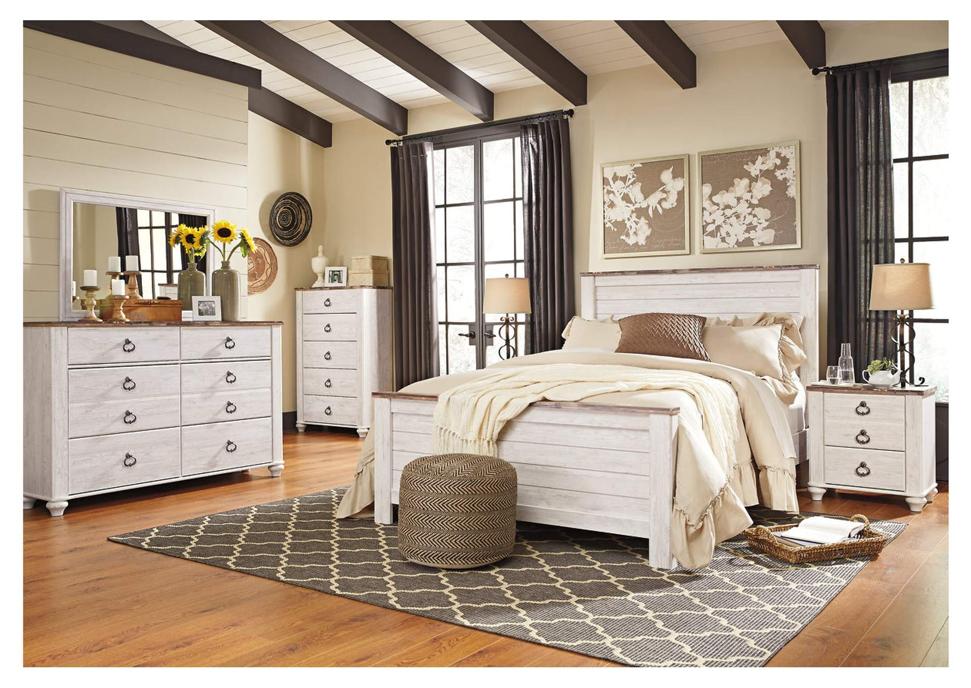 Willowton Whitewash Queen Panel Bed w/Dresser, Mirror & Drawer Chest,Signature Design By Ashley