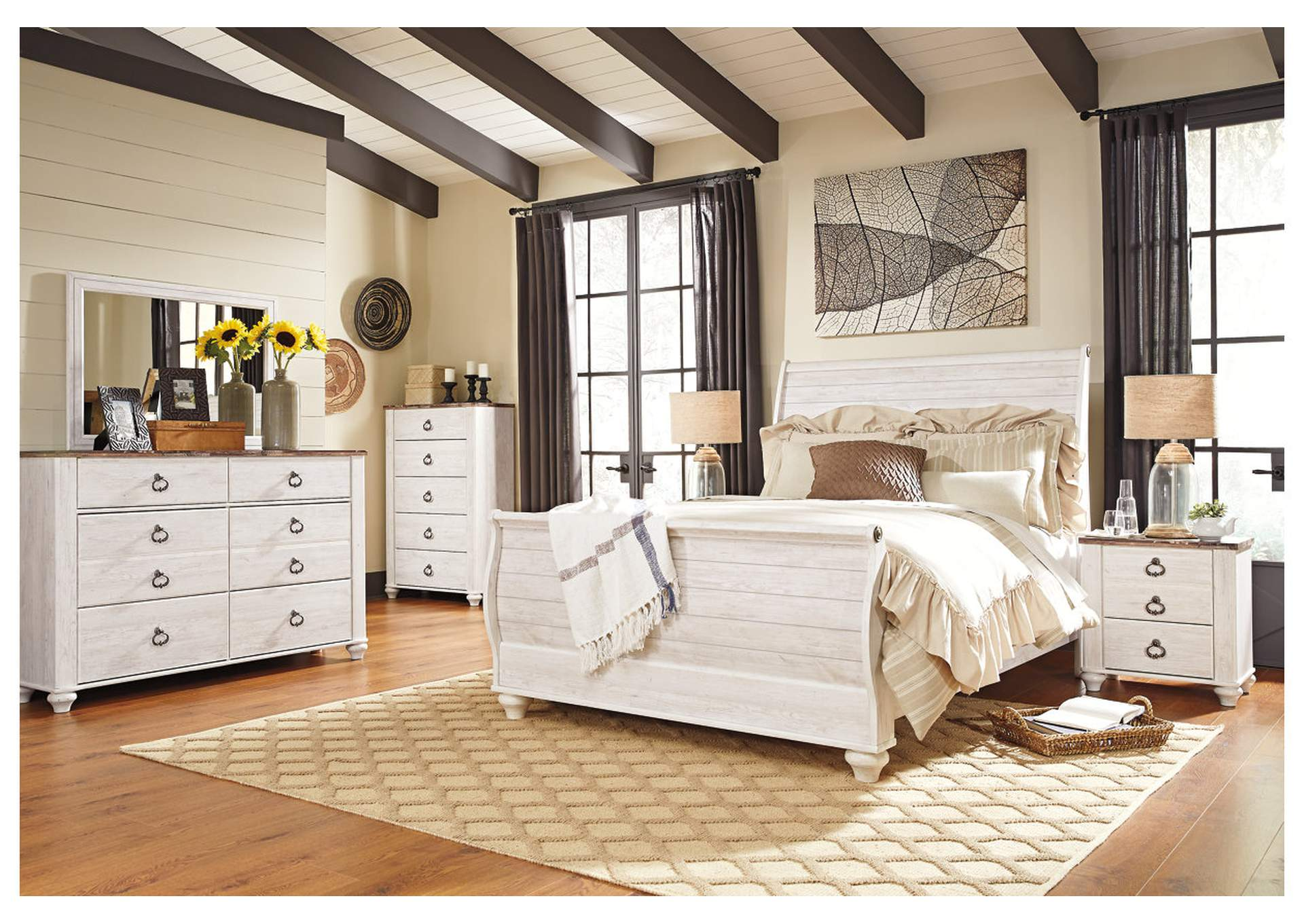 Willowton Whitewash Queen Sleigh Bed w/Dresser, Mirror, Drawer Chest & Nightstand,Signature Design By Ashley