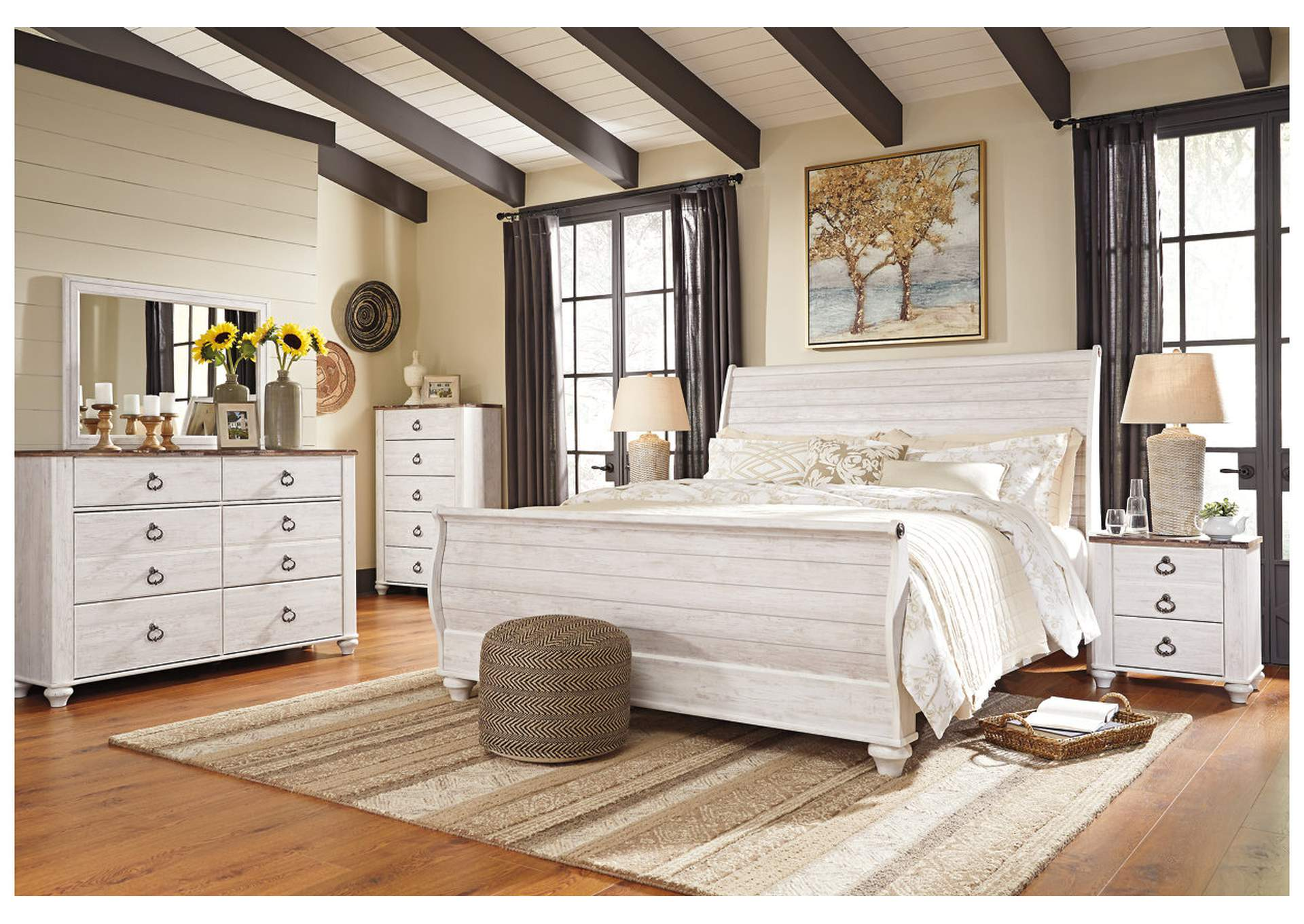 Willowton Whitewash King Sleigh Bed w/Dresser, Mirror & Nightstand,Signature Design by Ashley