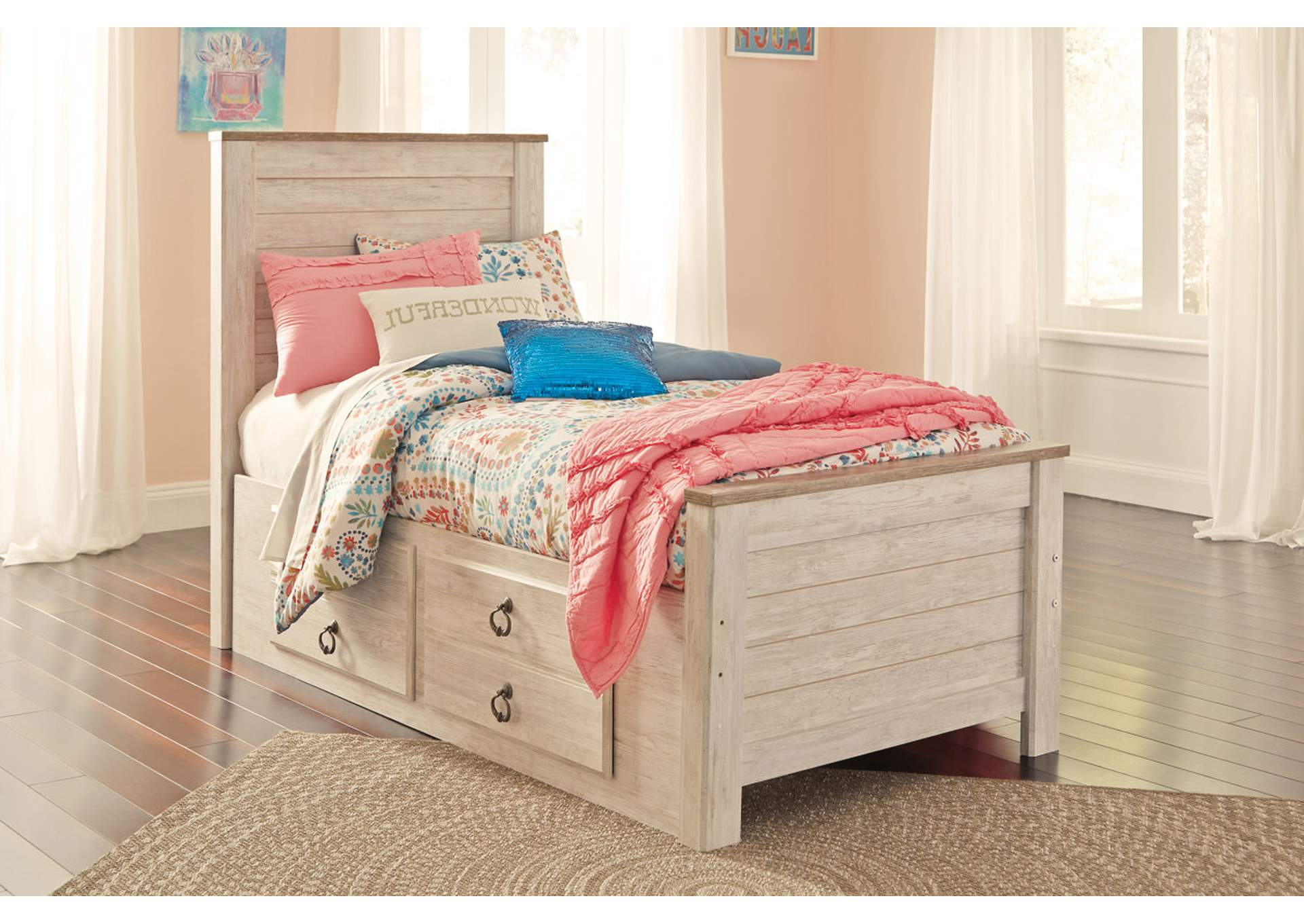 Willowton Whitewash Twin Storage Bed,Signature Design By Ashley
