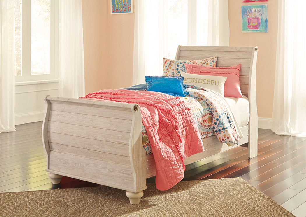 Willowton Whitewash Twin Sleigh Bed,Signature Design By Ashley