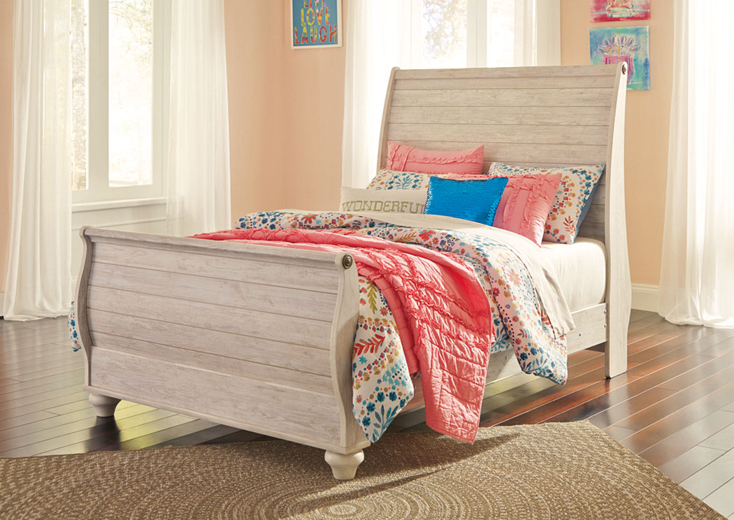 Willowton Whitewash Full Sleigh Bed,Signature Design By Ashley