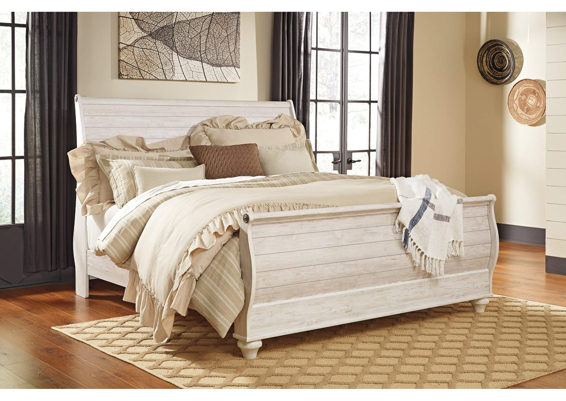 Willowton Whitewash King Sleigh Bed,Signature Design By Ashley